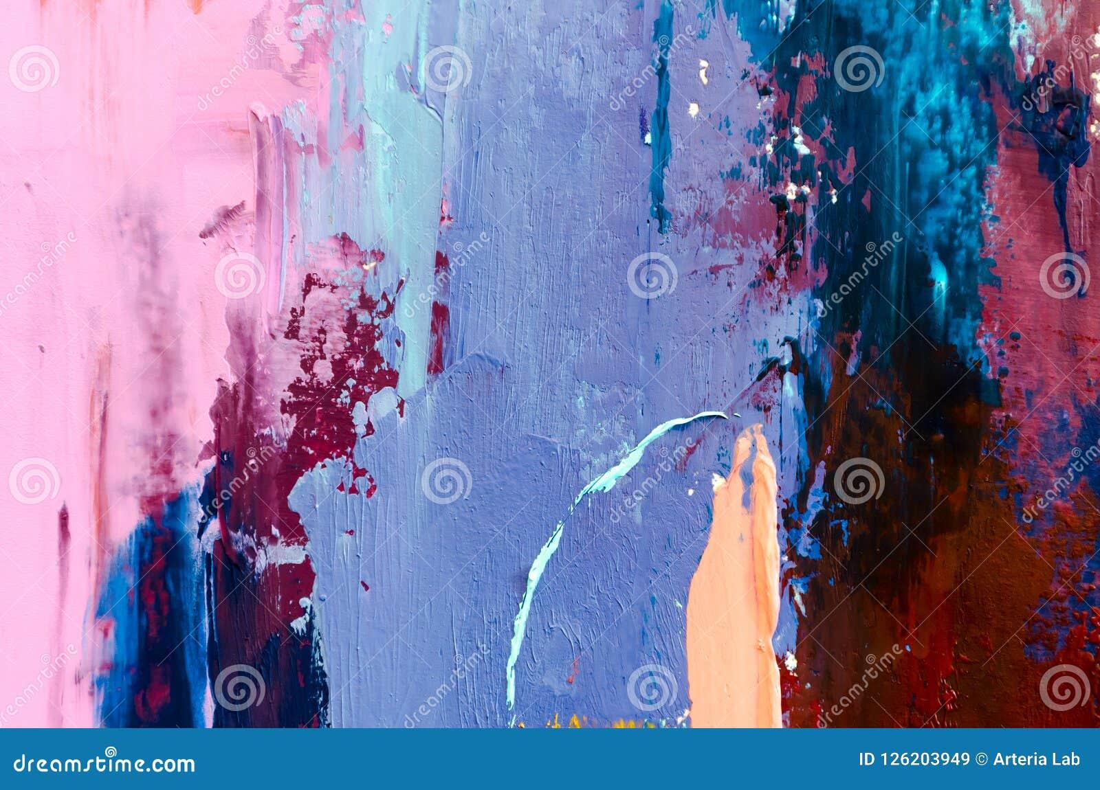 Tła abstrakcjonistyczny obraz olejny Olej na brezentowej teksturze Ręka rysująca