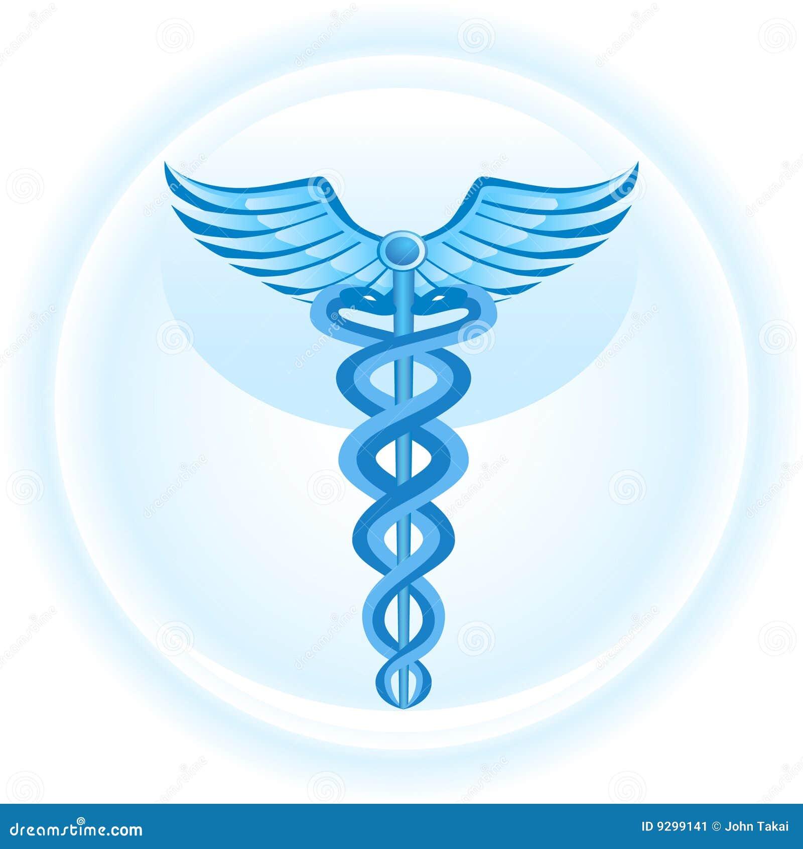 Tła błękitny kaduceuszu medyczny symbol