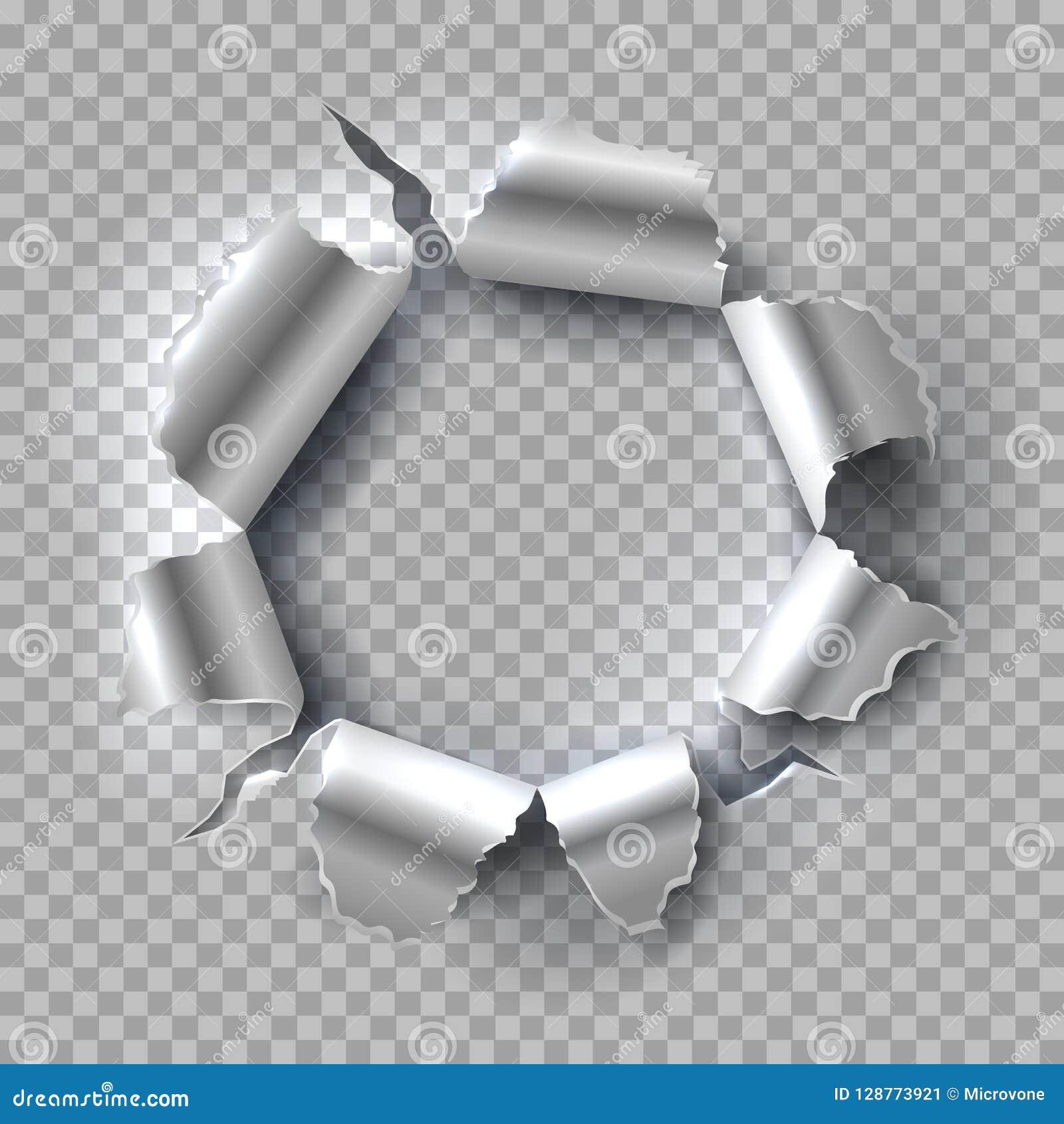Tła dziury metalu tekstura Wybuchający stal z poszarpanymi, rozdzierać krawędziami odizolowywać na przejrzystym tle, płyty tła po