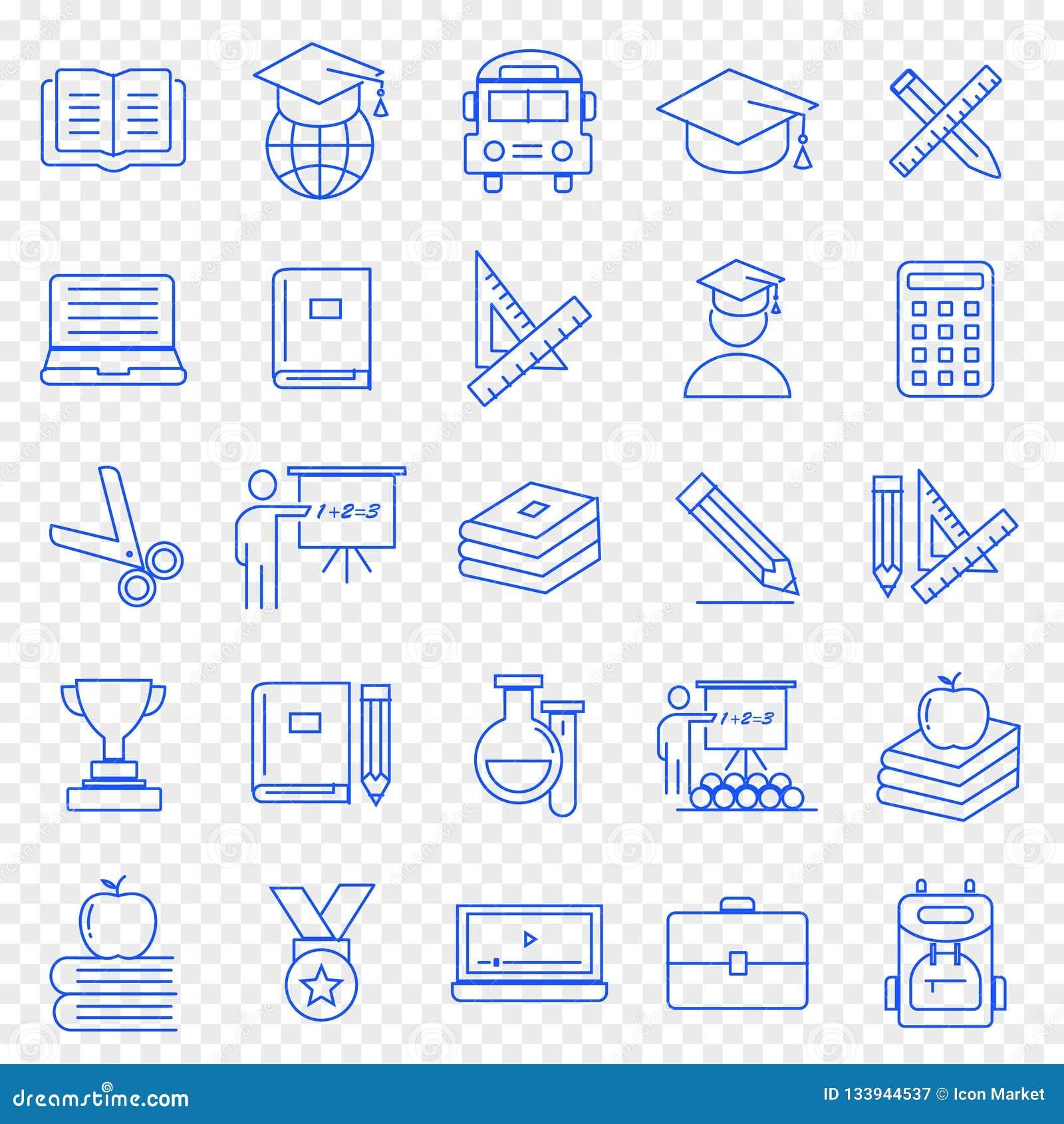 Tła edukaci ikony odosobniony ustalony biel 25 ikon Wektorowa paczka