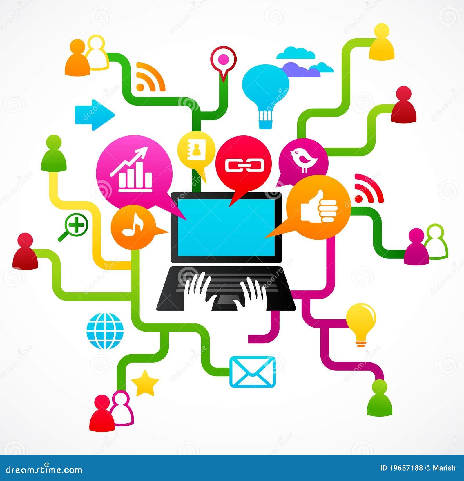 Tła ikon medialny sieci socjalny