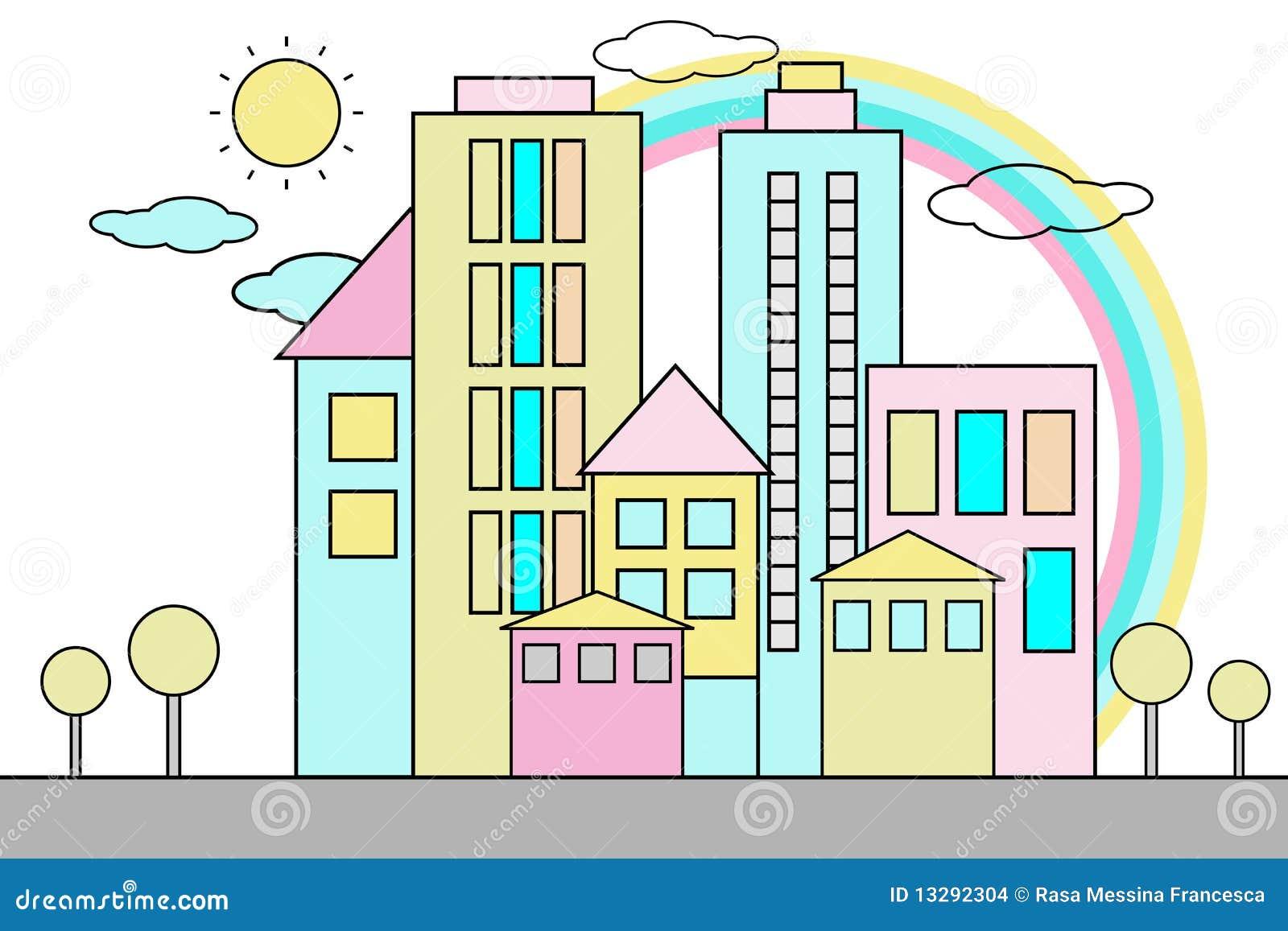 Tła kreskówki miasto