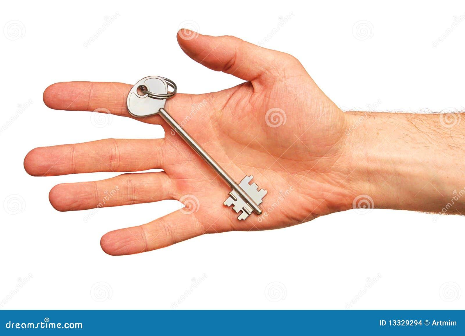 Tła ręka odizolowywający kluczowy biel