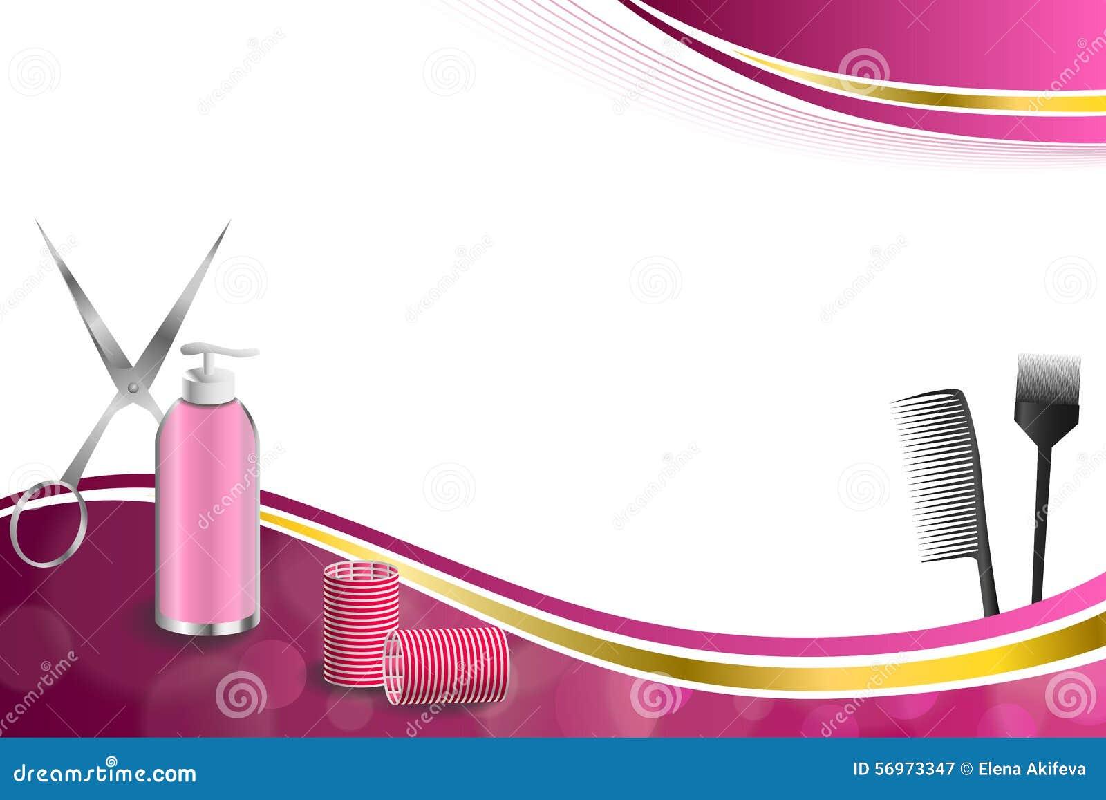 Tło abstrakta menchii fryzjerstwa fryzjera męskiego narzędzi curler czerwonych nożyc faborku ramy szczotkarska złocista ilustracj