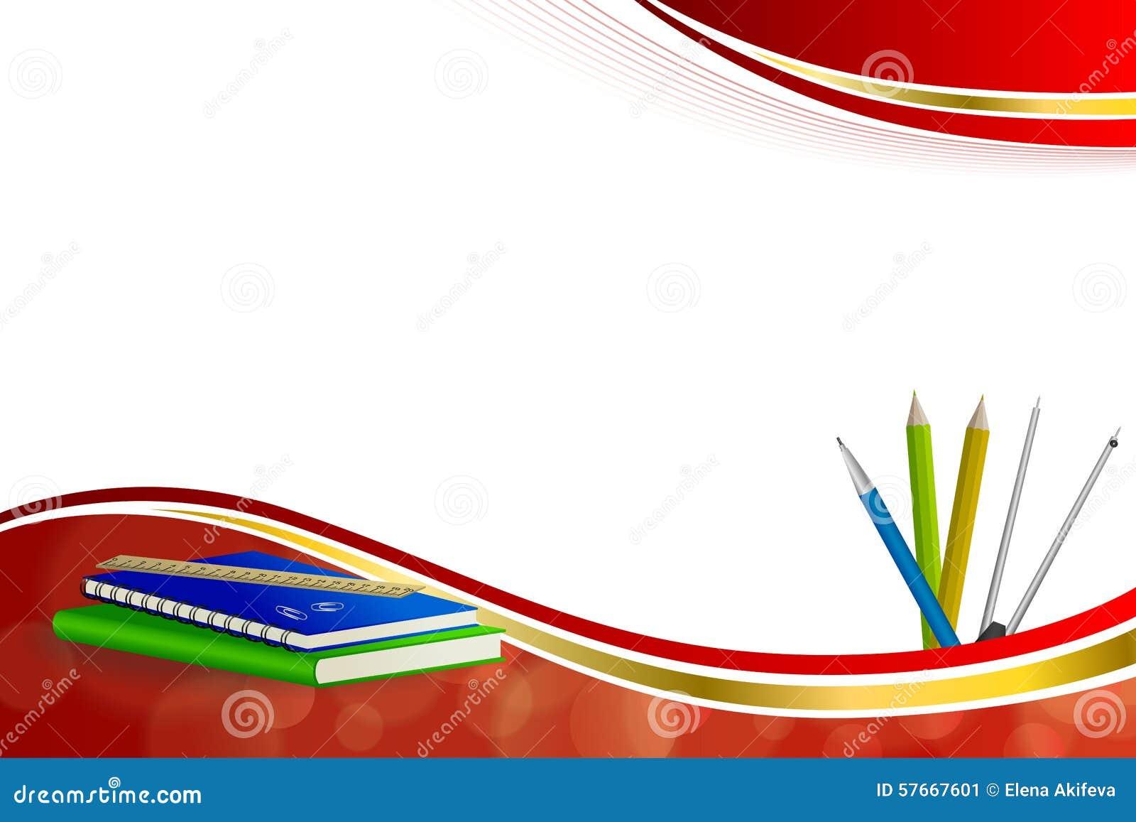 Tło abstrakta szkoły zieleni książki notatnika władcy pióra klamerki błękitnych ołówkowych kompasów żółtego złota faborku ramy cz