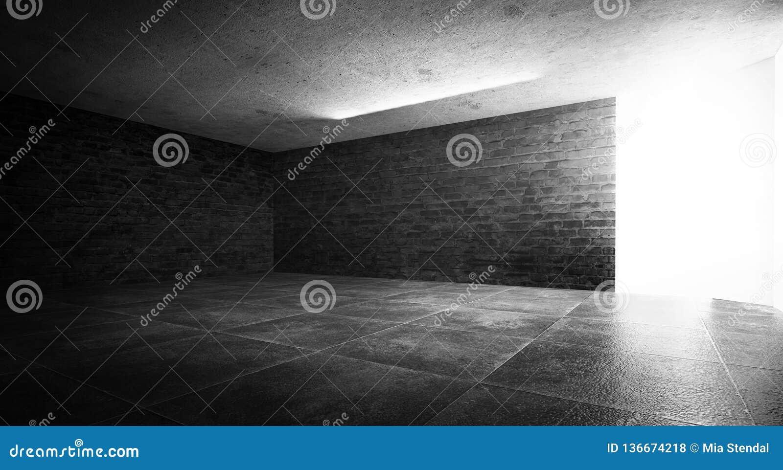 Tło ciemny pokój, dym i pył puści,