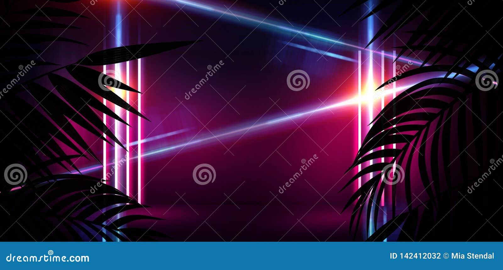 Tło ciemny pokój, tunel, korytarz, neonowy światło, lampy, tropikalni liście