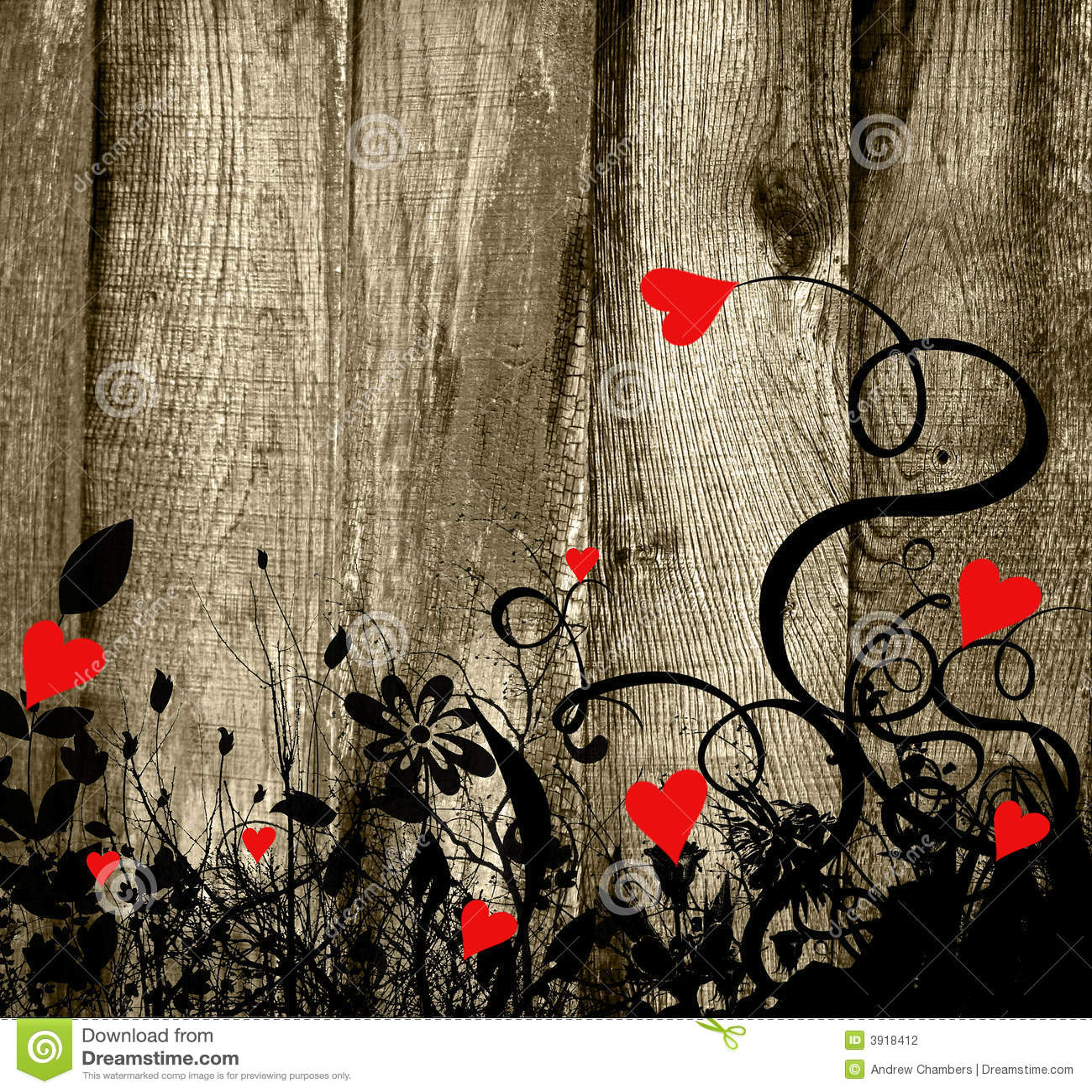 Tło deskowi serca