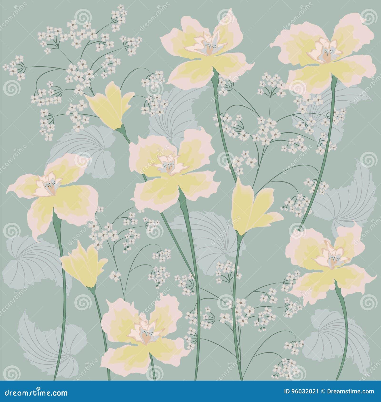 Tło dzicy kwiaty bladożółtej narcyz sztuki kreatywnie wektor