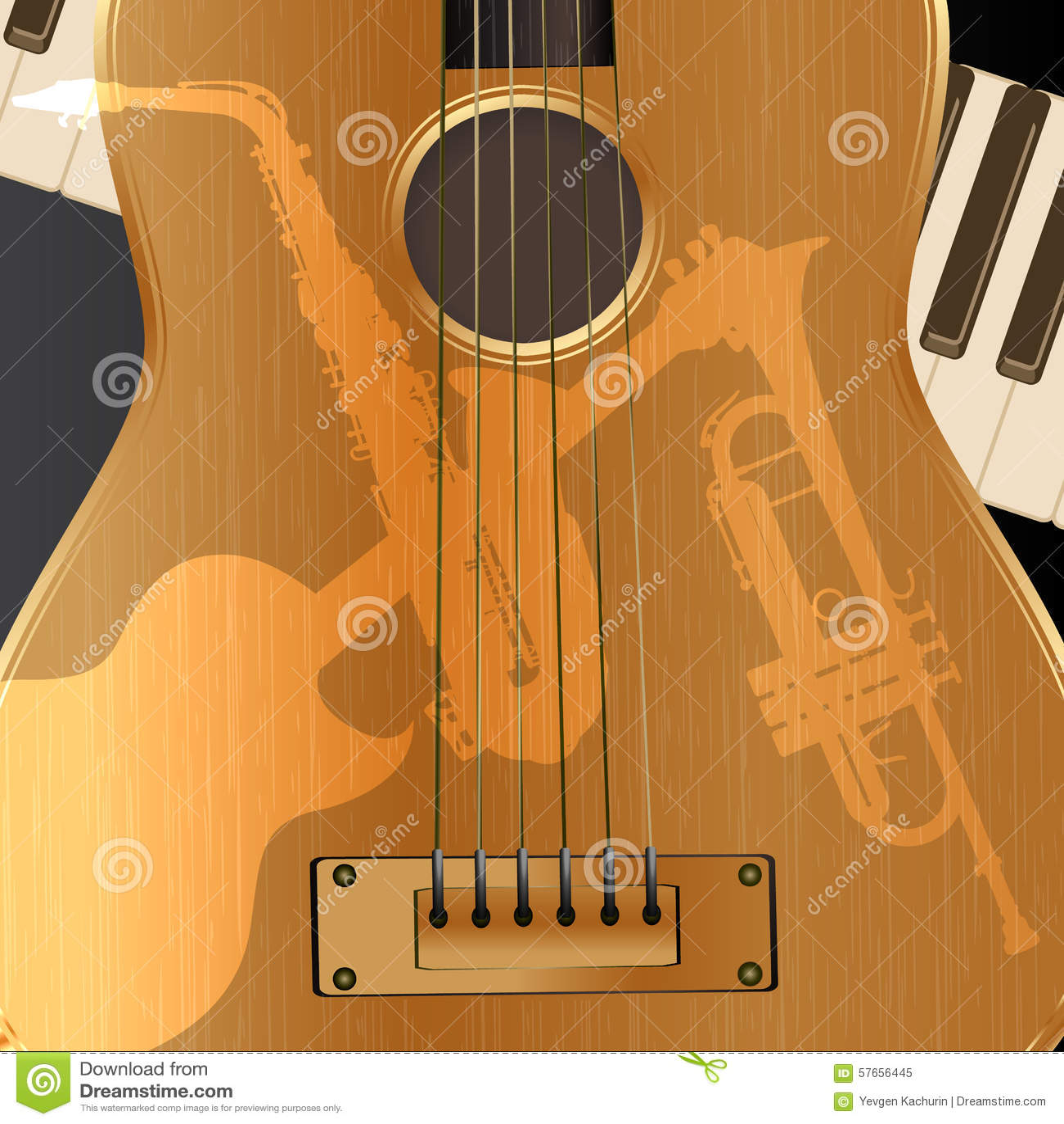 Tło gitara akustyczna z lekkimi cieniami