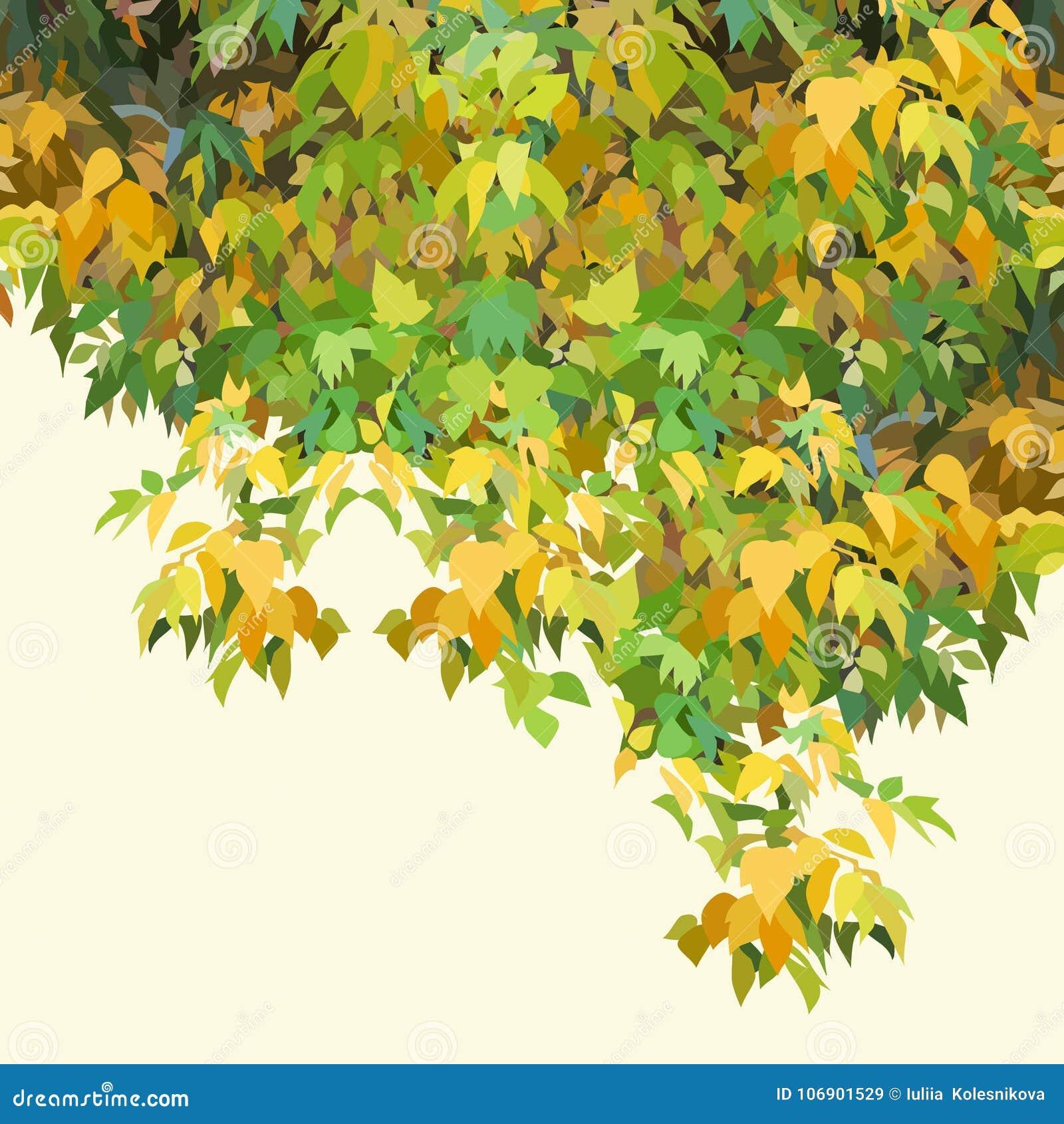 Tło malujący jesieni zieleni zwarty ulistnienie