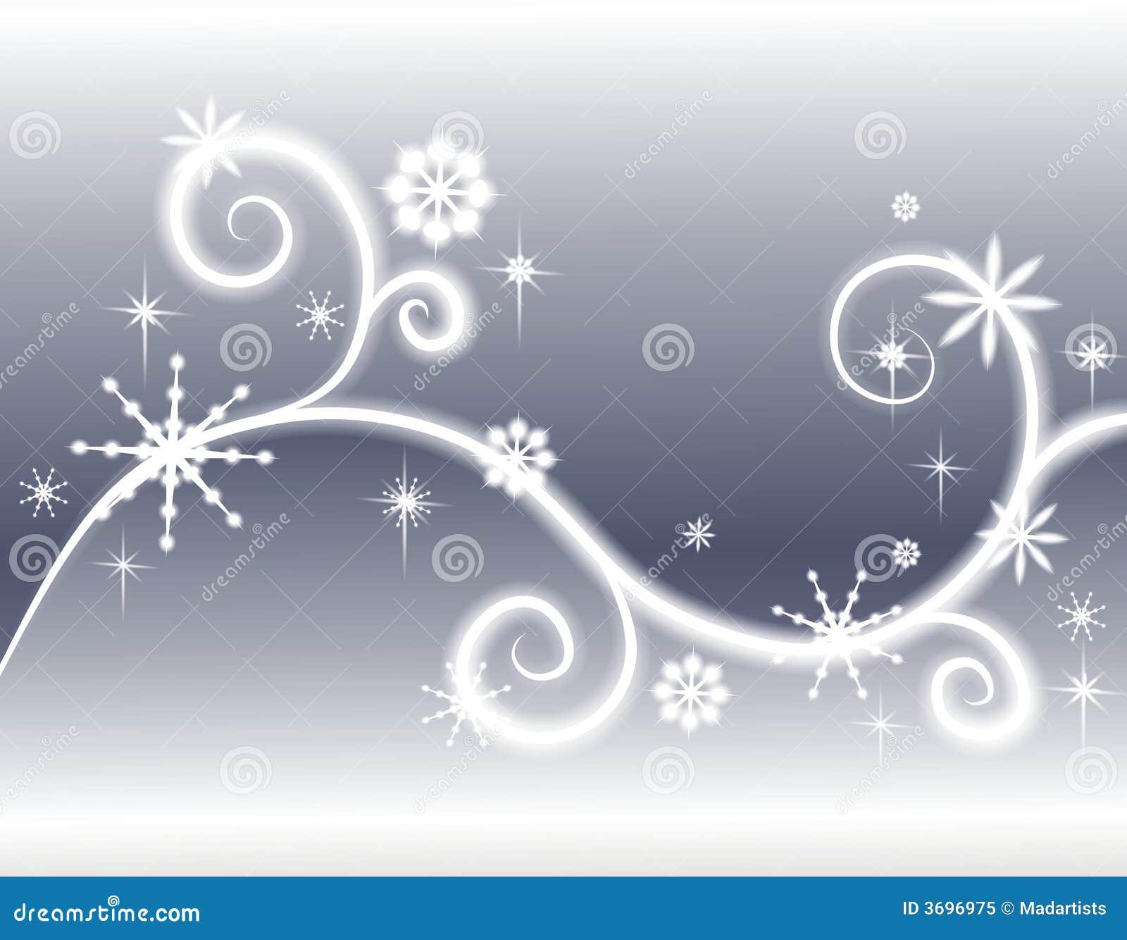 Tło płatków śniegu srebrne gwiazdy