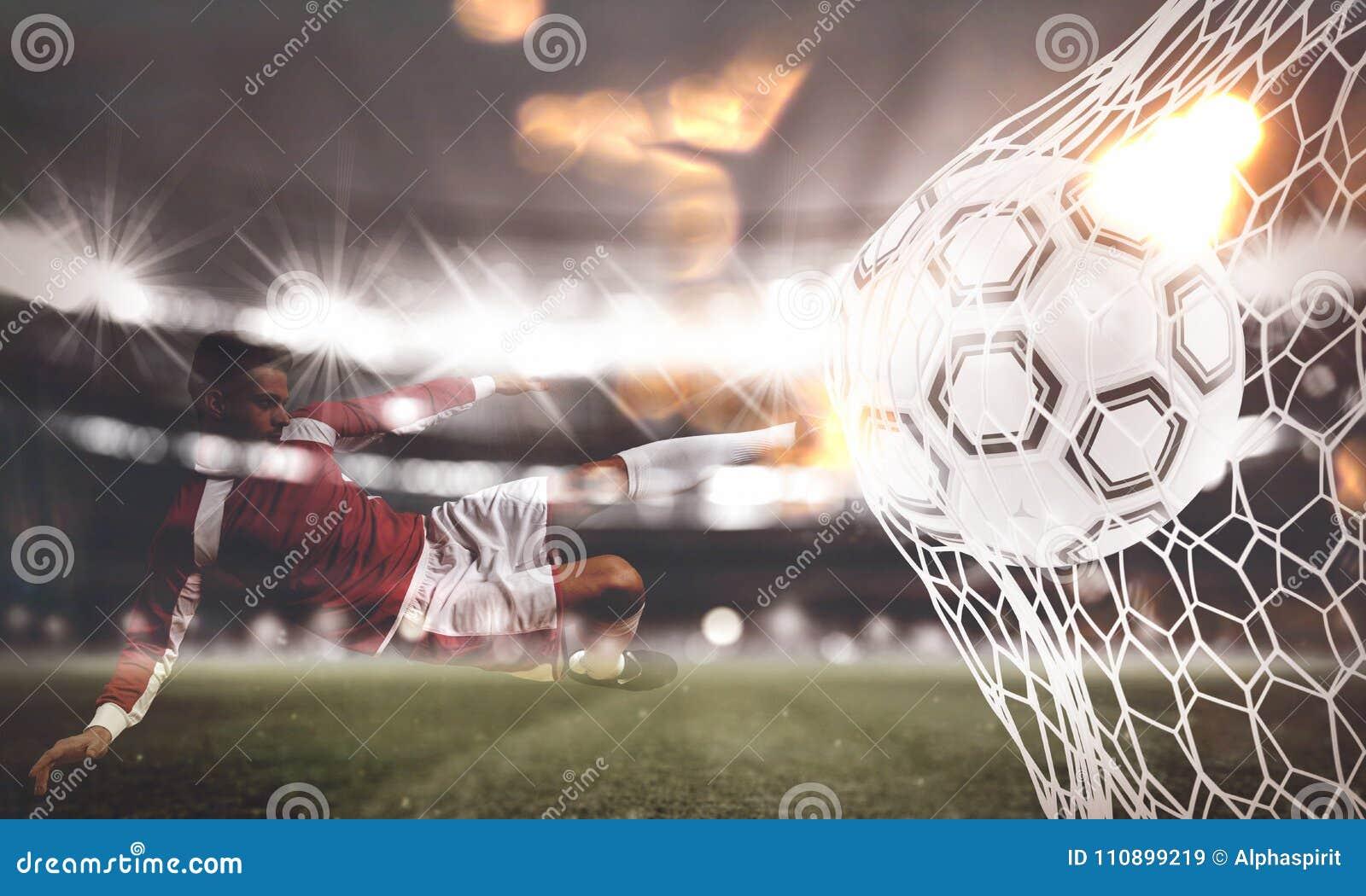 Tło piłki nożnej piłka zdobywa punkty cel na sieci świadczenia 3 d