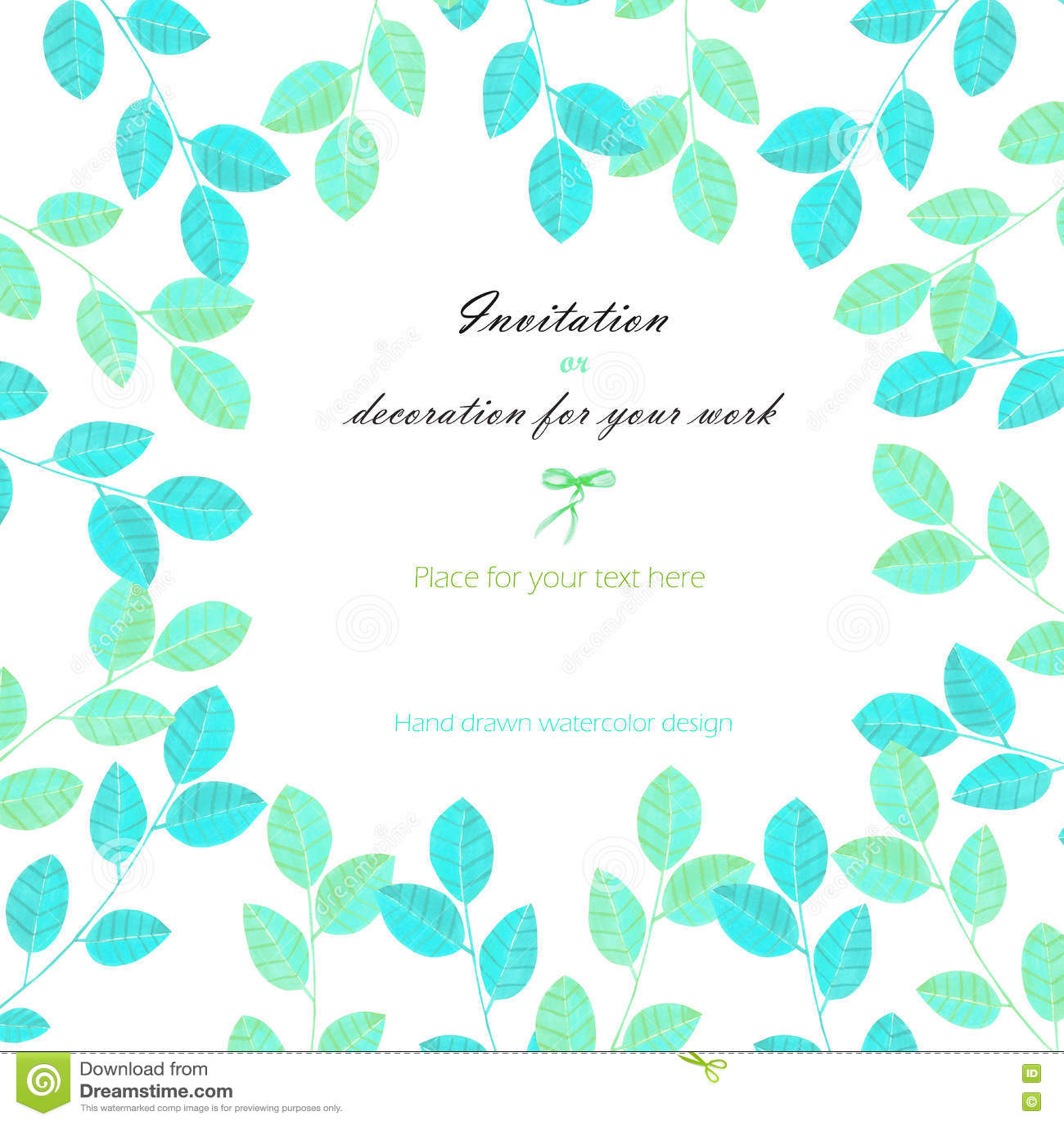Tło, szablon pocztówka z akwarela błękitnymi i nowymi liśćmi, ręka rysująca na białym tle