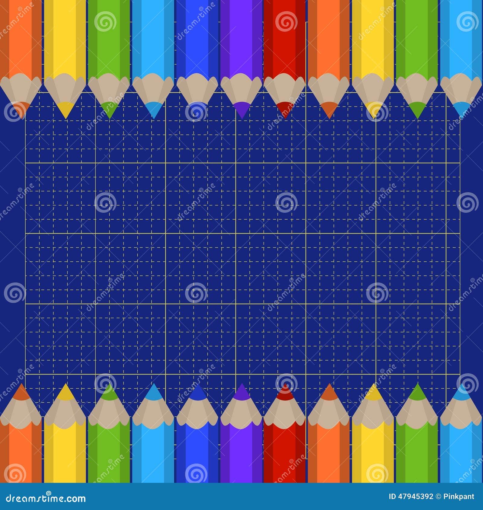 Tło tnąca granica barwioni ołówki i mata Miejsce dla twój teksta