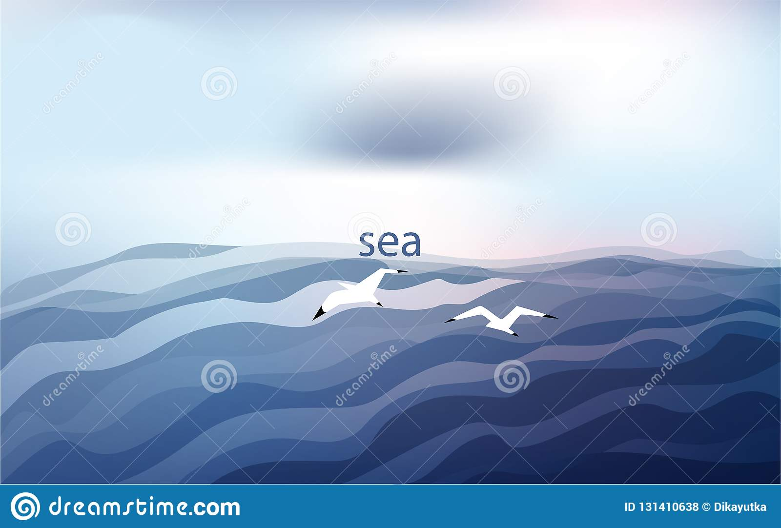 Tło w błękicie tonuje z seagulls i morzem pod chmurnym niebem również zwrócić corel ilustracji wektora