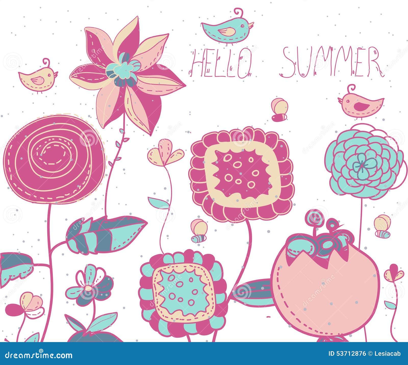 Tło z dekoracyjnymi kwiatami, ptaki, pszczoły i literowania lato Cześć