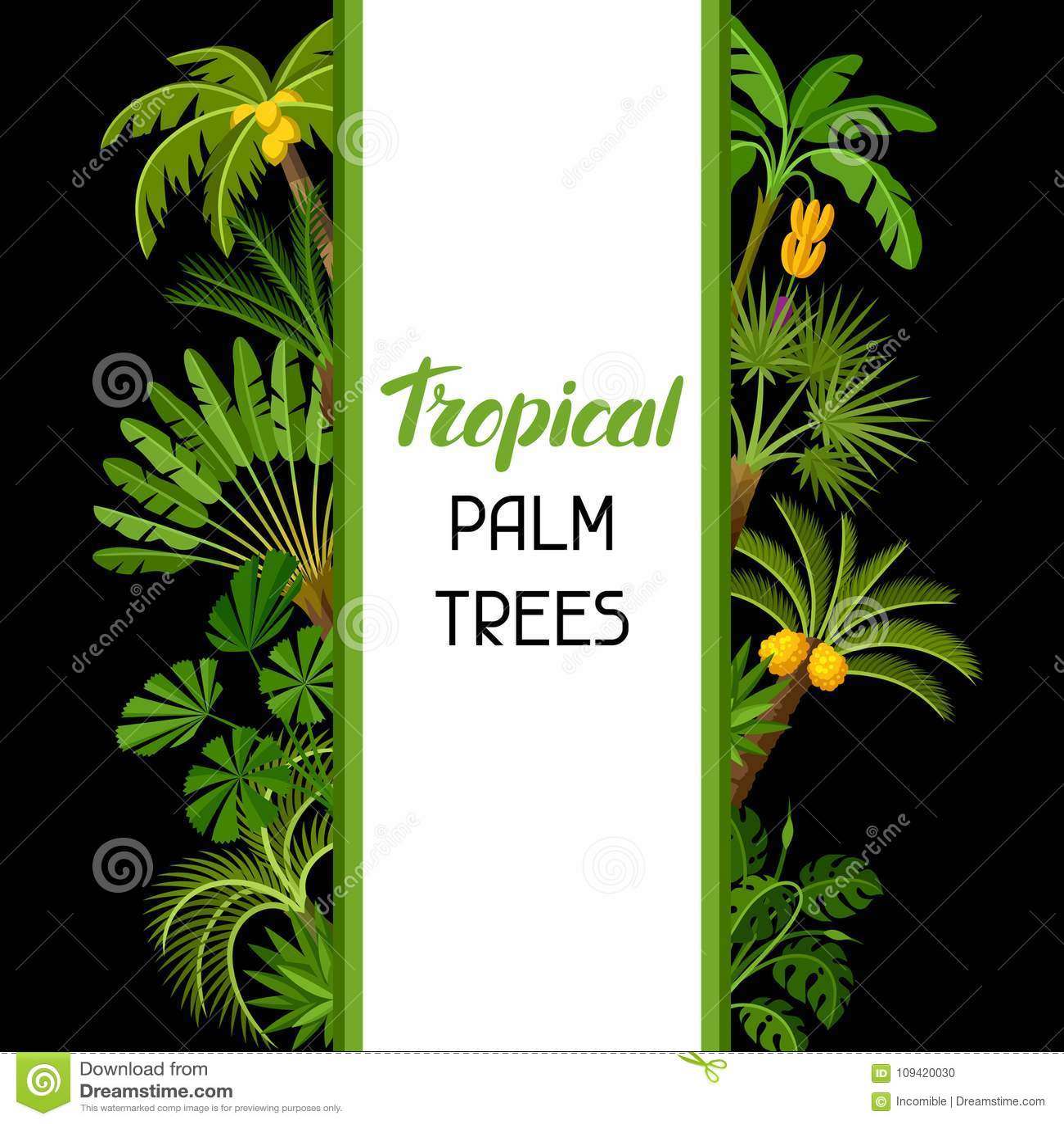 Tło z tropikalnymi drzewkami palmowymi Egzotyczna tropikalnych rośliien ilustracja dżungli natura