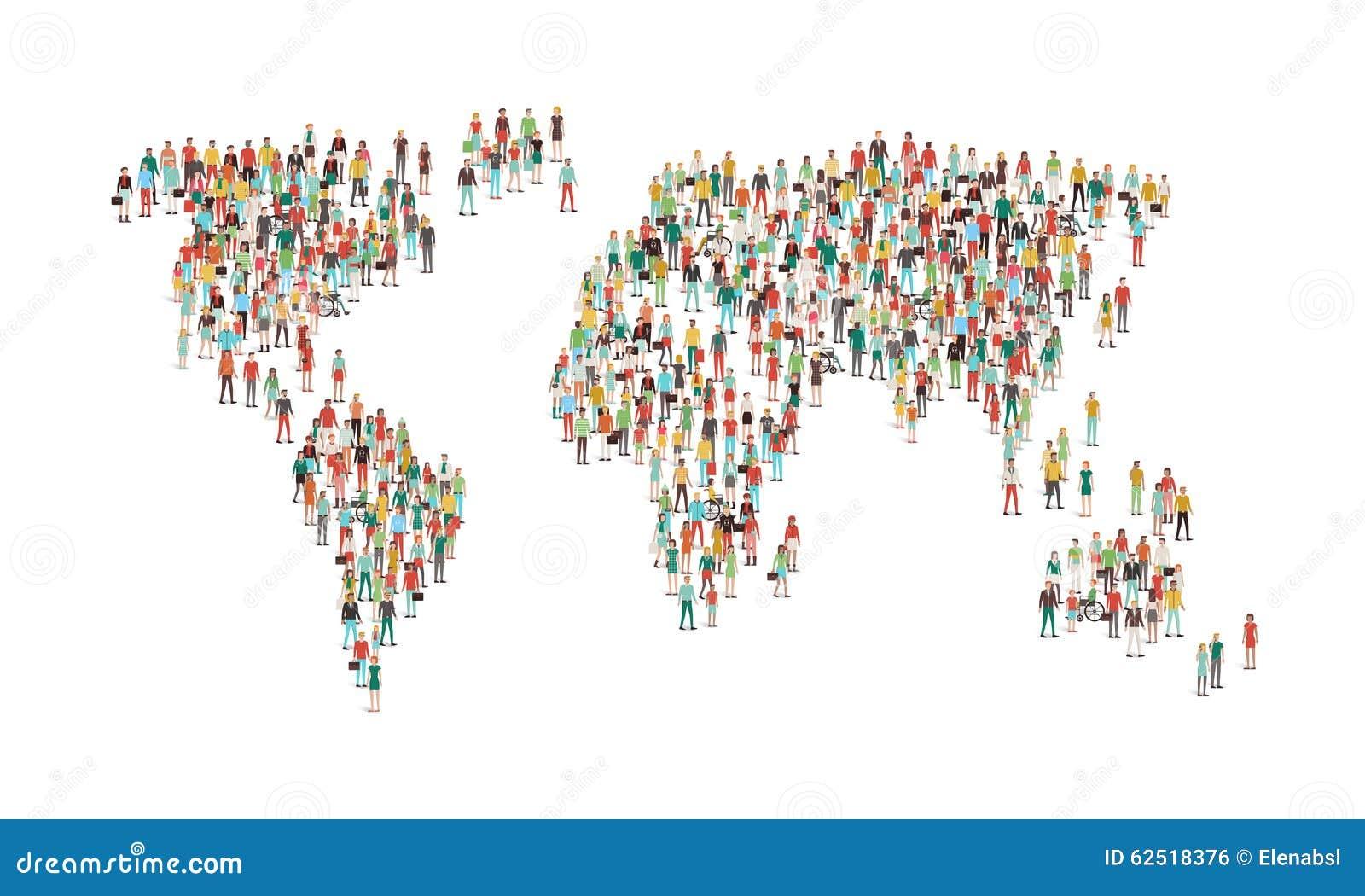 Tłum ludzie komponuje światową mapę