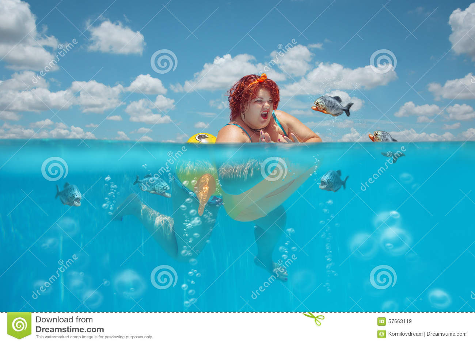 Tłusta kobieta i piranhas