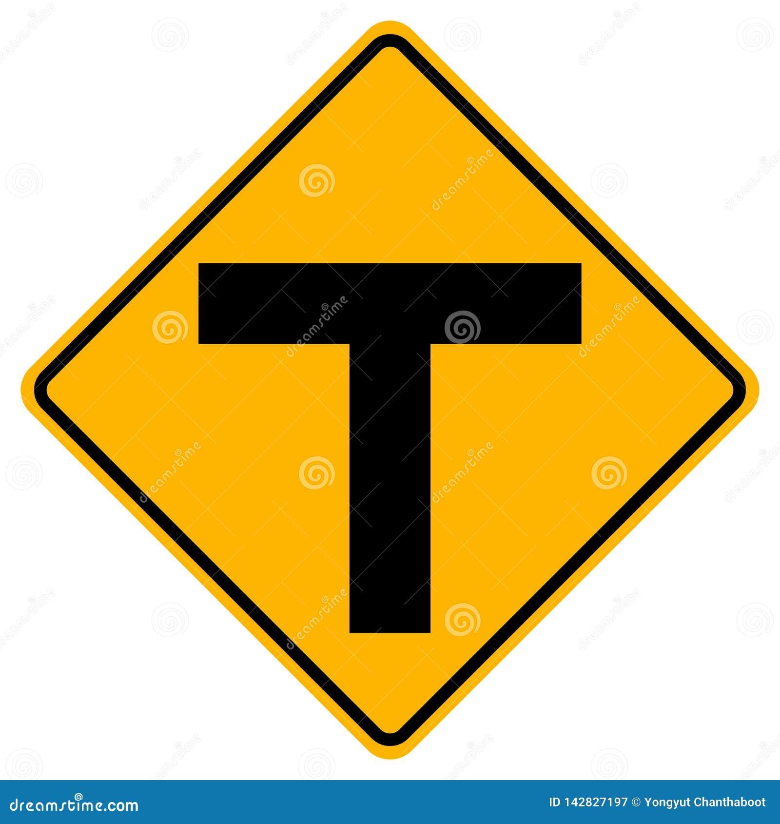 T形连接交通路标,传染媒介例证,在白色背景,标志,象的孤立 EPS10