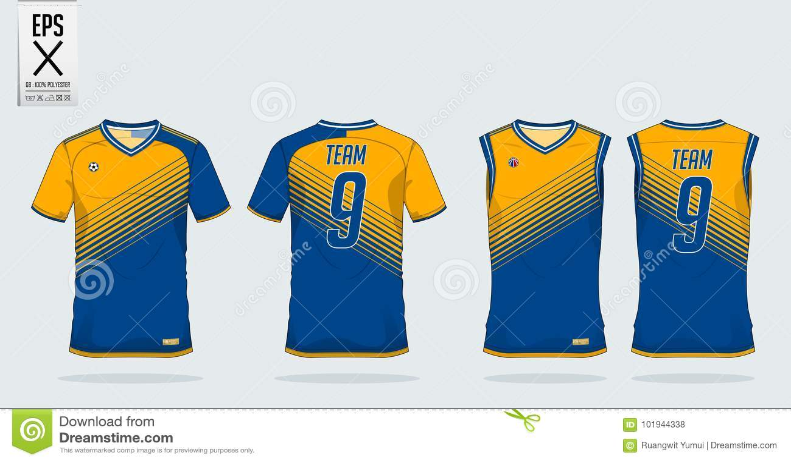 T恤杉体育足球球衣、橄榄球成套工具和无袖衫的设计模板篮球球衣的 在前面和后面看法的制服