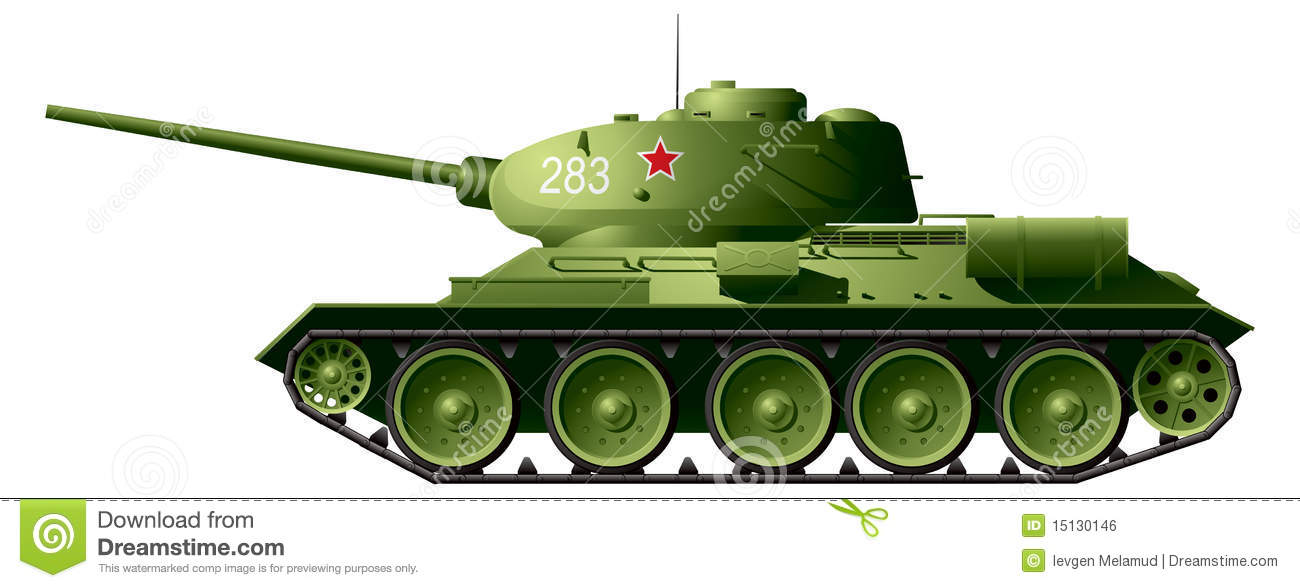 34 WW2 Battle Tank T3485 Soviet Medium World War II Red