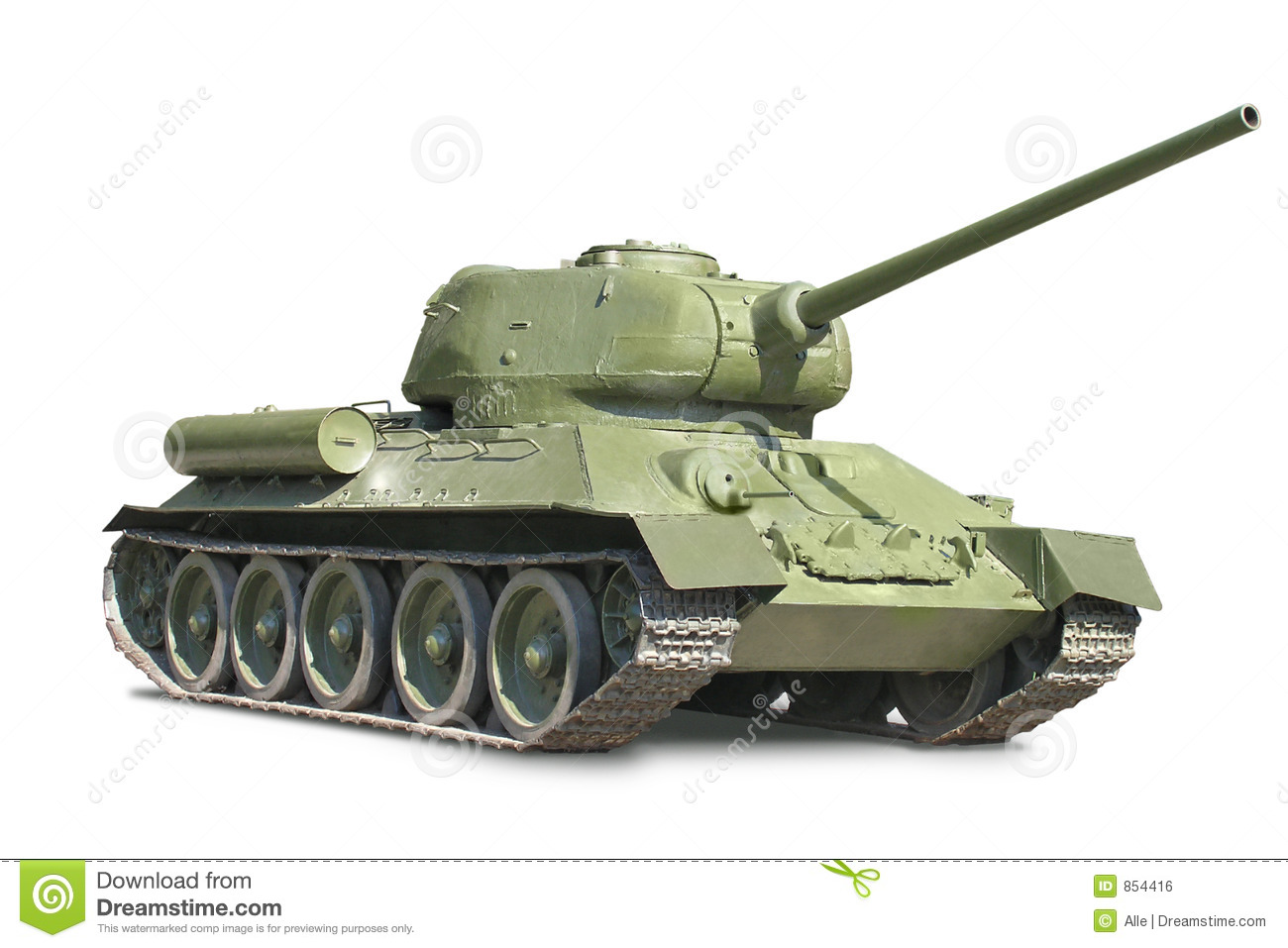 Soviet medium T-34 tank against white background.