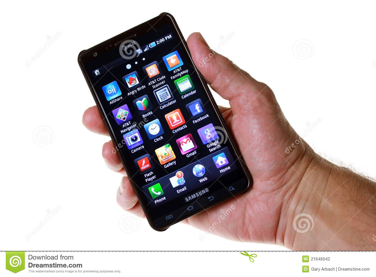 AT&T 4G Smartphone With Touchscreen Icons Editorial Image ...