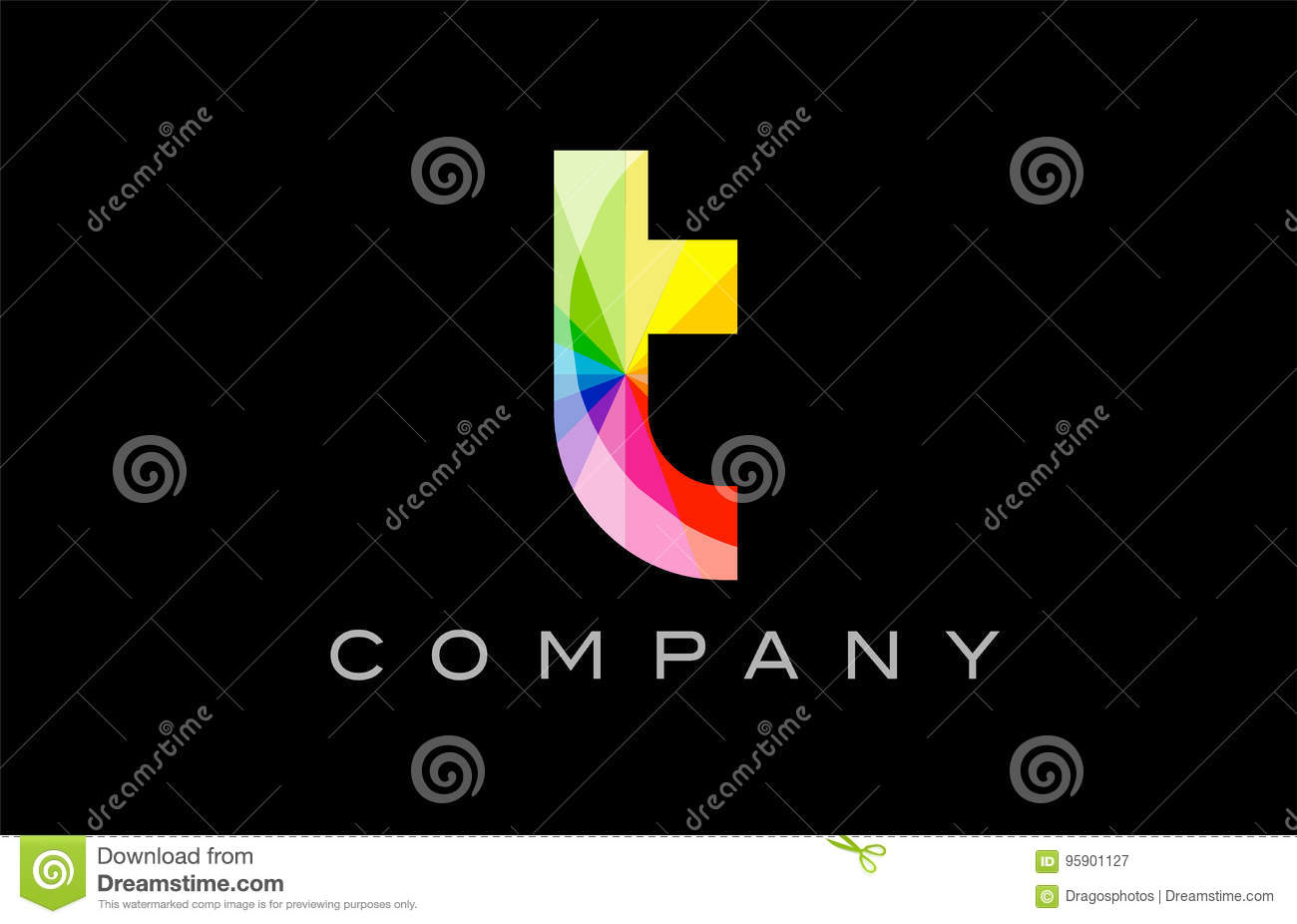 87947285 T alphabet letter mosaic rainbow logo vector creative company icon design  template color colorful black background
