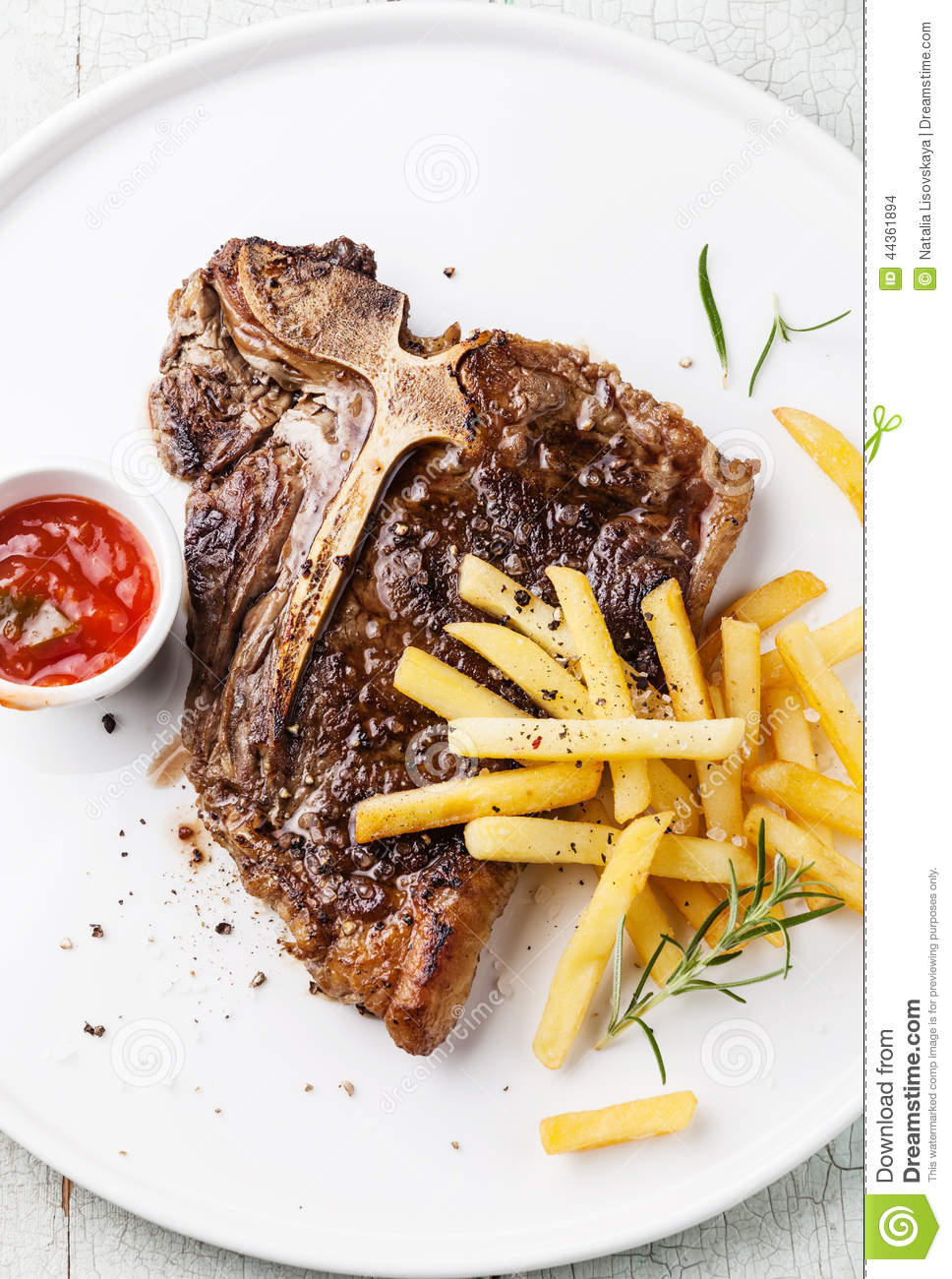 T-Bone Steak With French Fries Stock Photo - Image of meal, dinner: 44361894