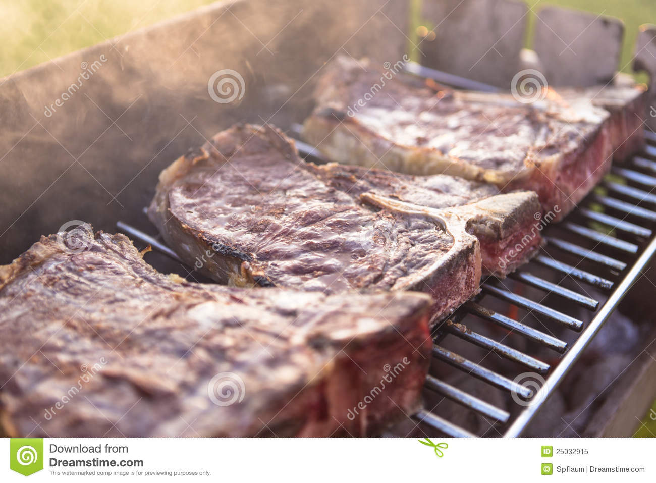 T-Bone Steaks On The Grill Royalty Free Stock Photo ...
