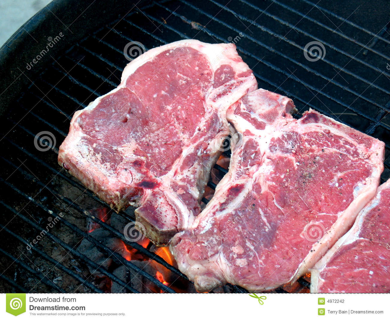 T-bone Steaks On The Grill Stock Photography - Image: 4972242