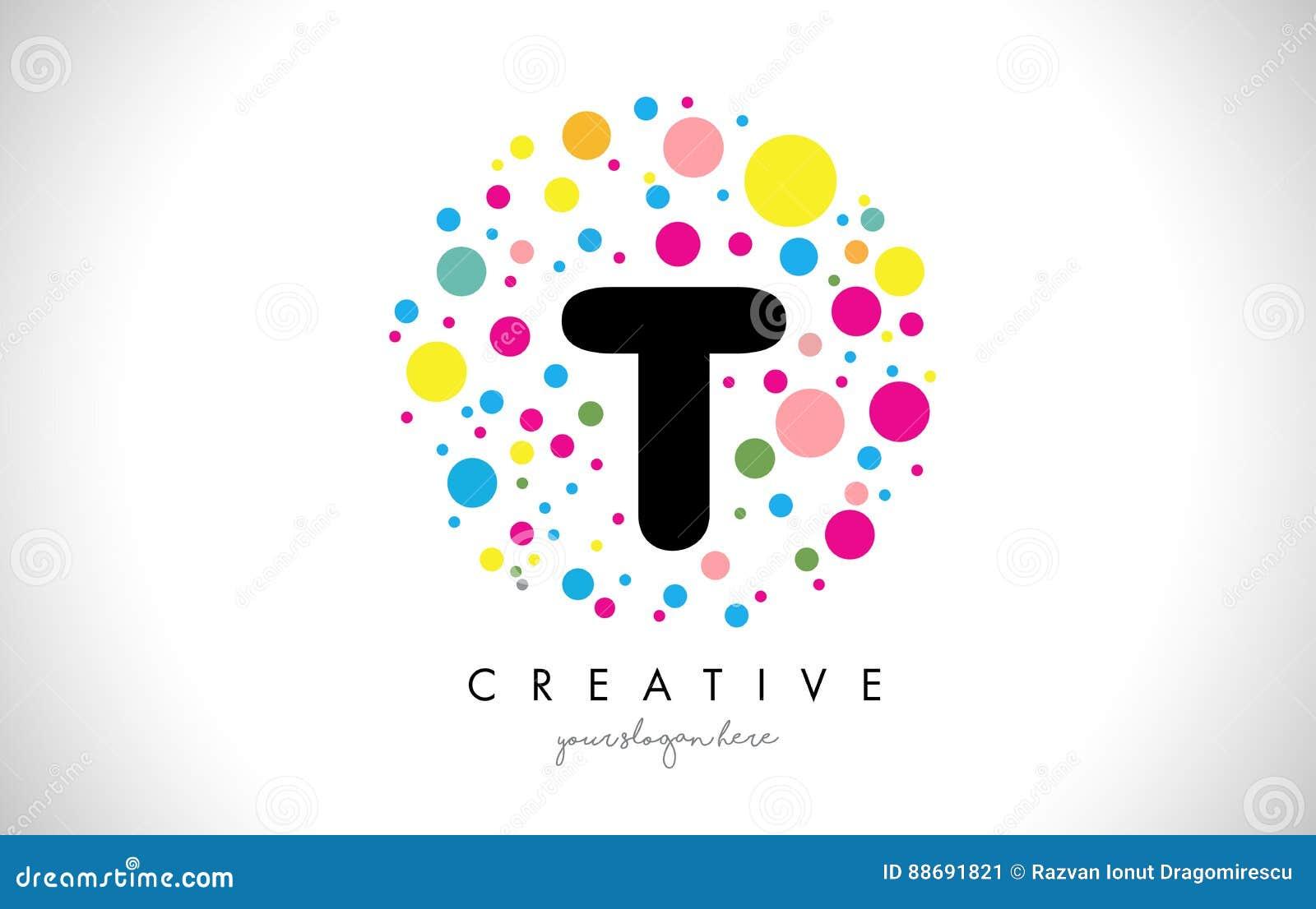 t bubble dots letter logo design with creative colorful bubbles