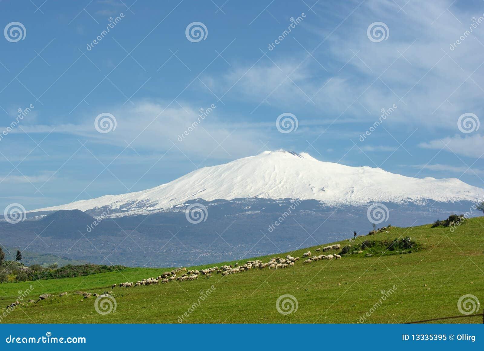 Tła Etna tabunowy wulkan
