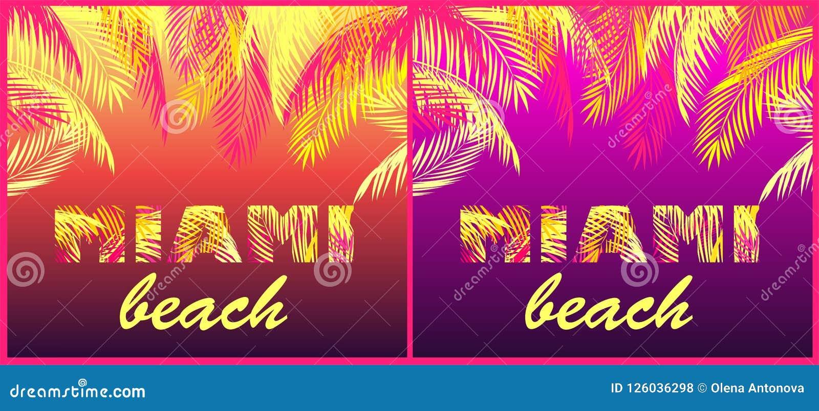 T koszula przyjęcia druków różnica z Miami plaży literowaniem z koloru żółtego i menchii palmowymi liśćmi na neonowym nocy tle