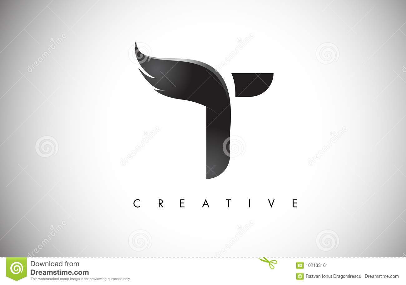 Download T Letter Wings Logo Design With Black Bird Fly Wing Icon Stock Vector
