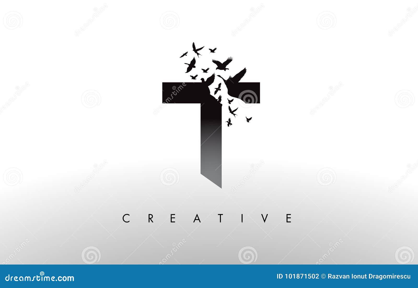 T Logo Letter con la multitud de los pájaros que vuelan y que se desintegran de