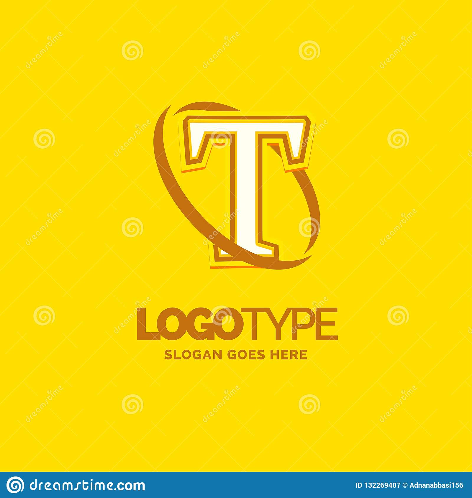 Colorful Company Logo Template With Tagline: T Logo Template . Yellow Background Circle Brand Name