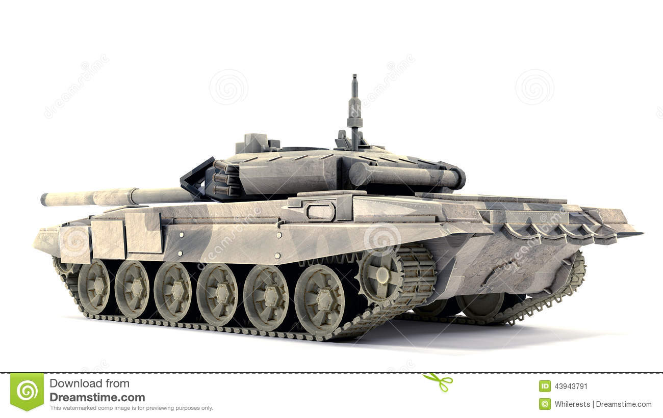90 Main Battle Tank, On White Background Stock Illustration - Image ...
