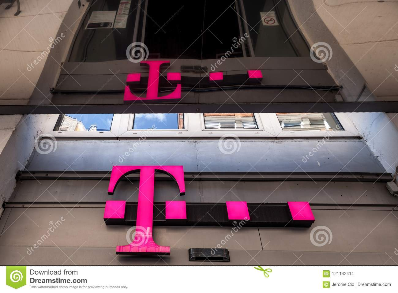 T Mobile Logo On Their Main Shop In Szeged T Mobile Is One Of The