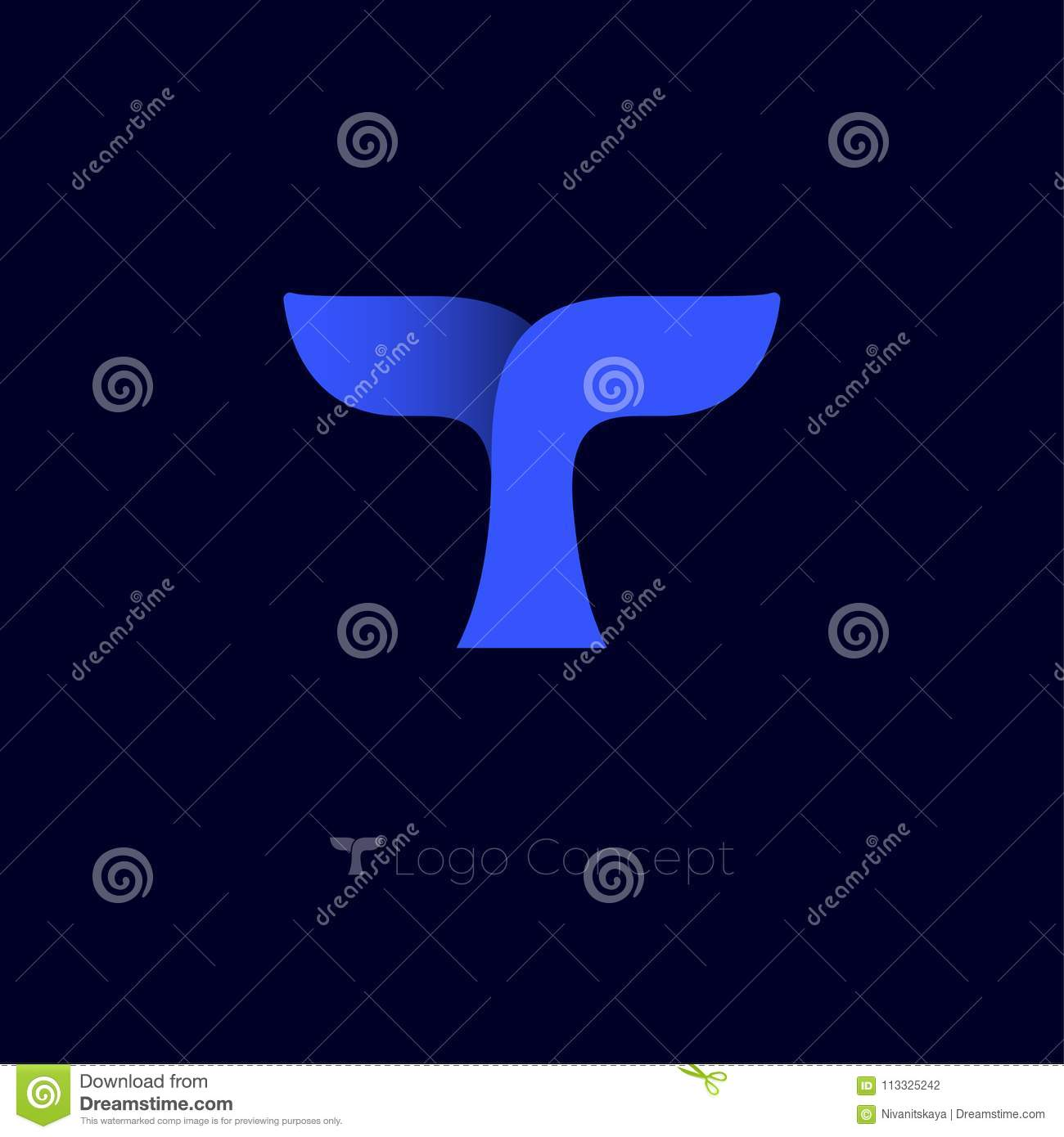 T Monogram Letter Origami Emblem Whale Blue Tail Logo Stock