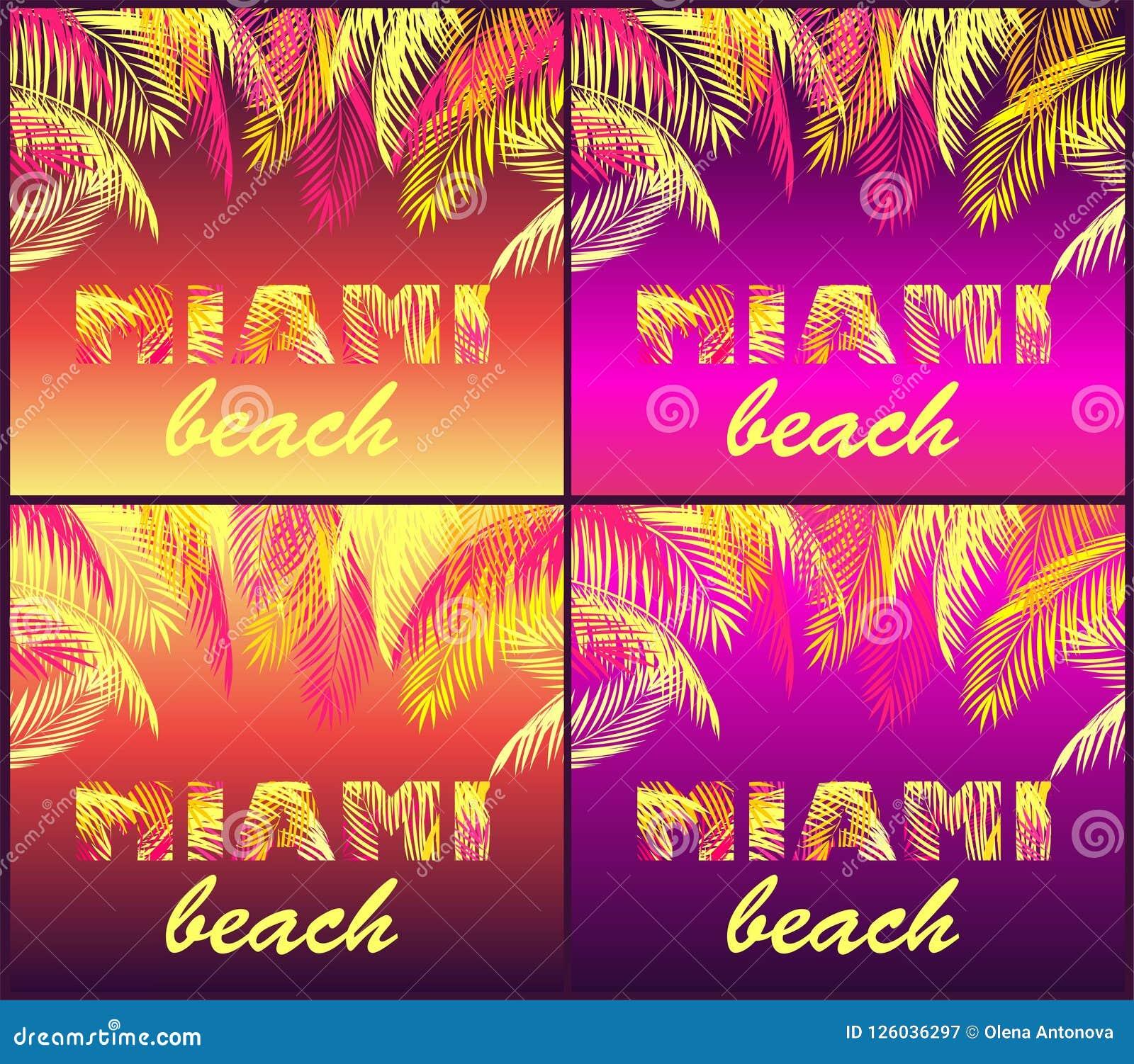 T nocy przyjęcia druków koszulowa różnica z Miami plaży literowaniem z koloru żółtego i menchii palmowymi liśćmi na neonowych tło