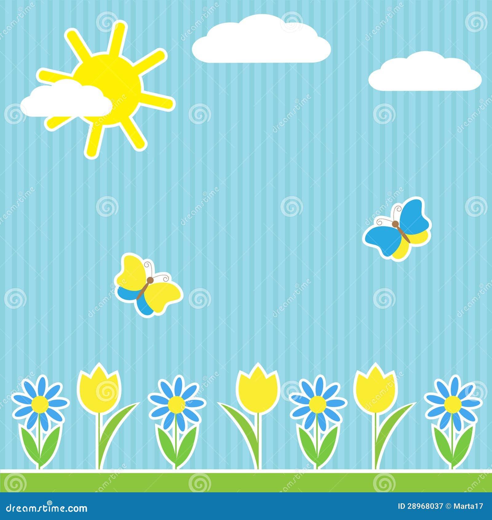 Tło z kwiatami i motylami