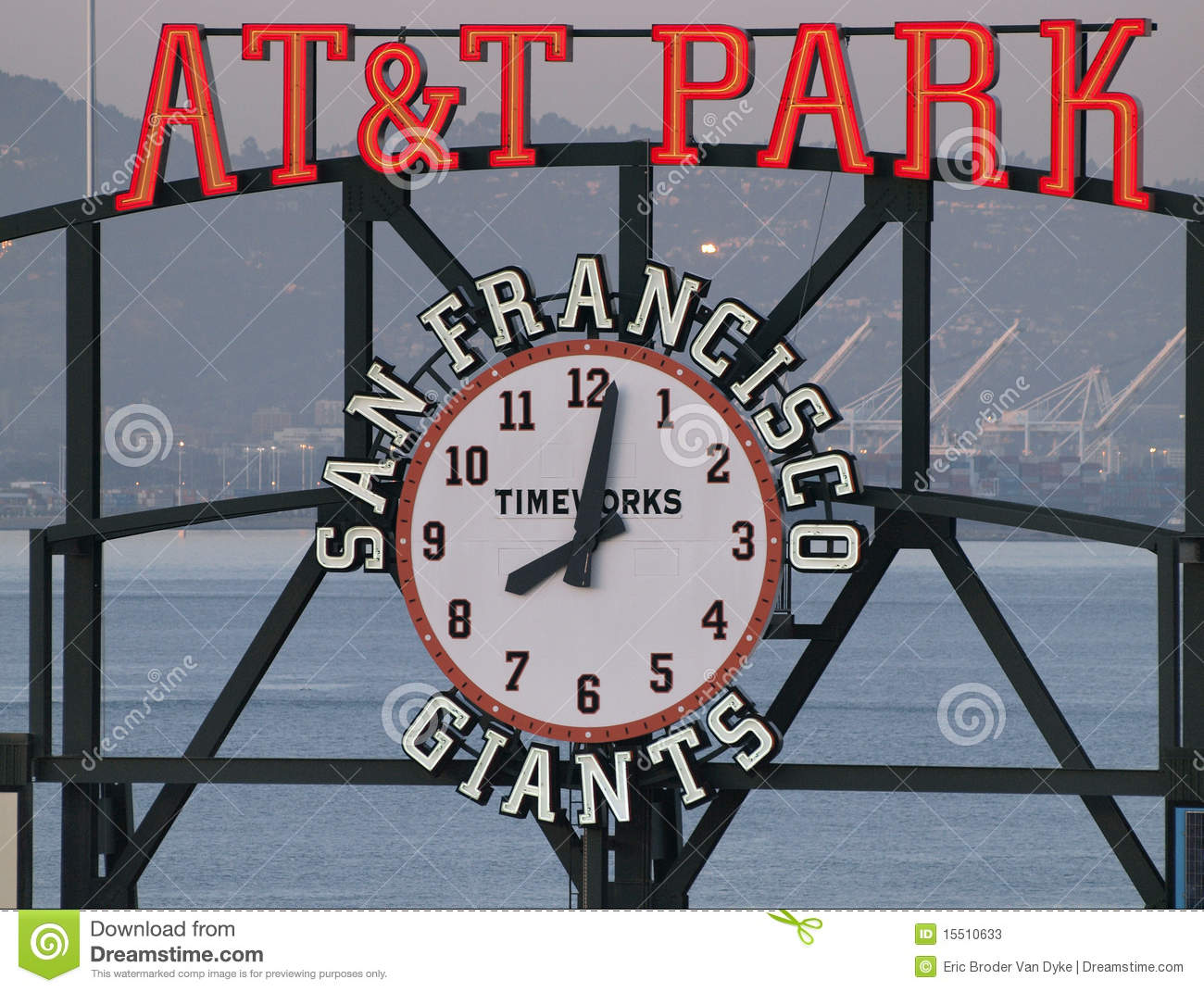 AT&T Park sign and clock