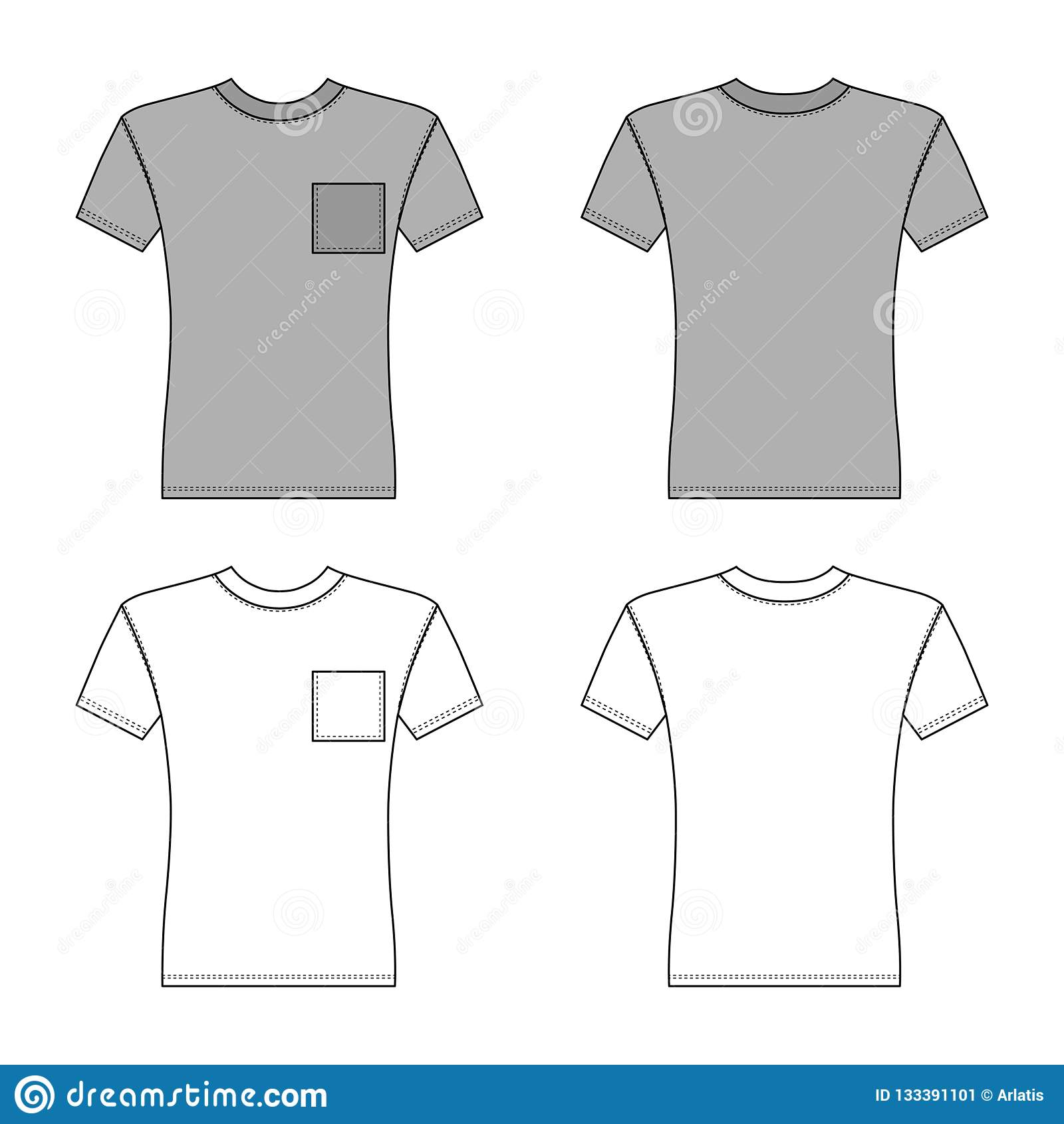 T Pocket Shirt Man Template Front Back Views