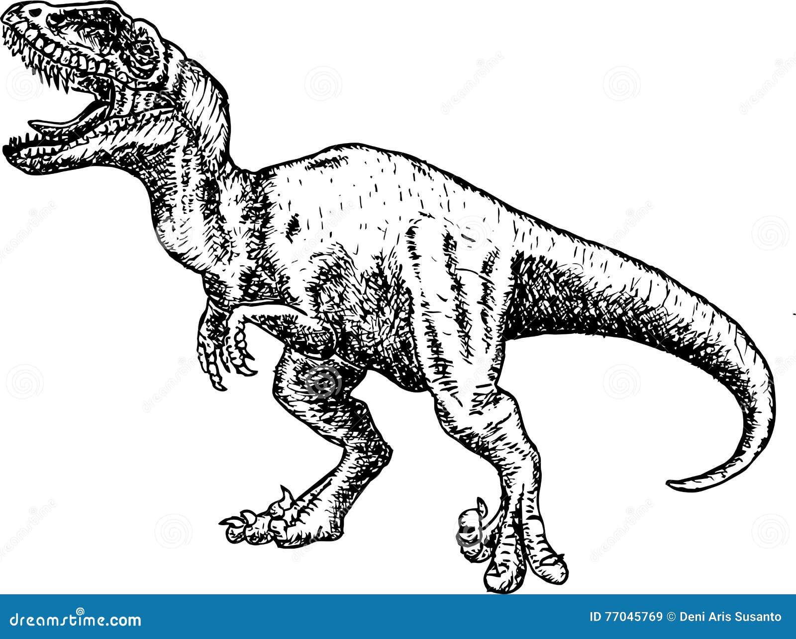 T Rex Dinosaur Esboco Do Lapis Do Desenho Do Dinossauro Ilustracao