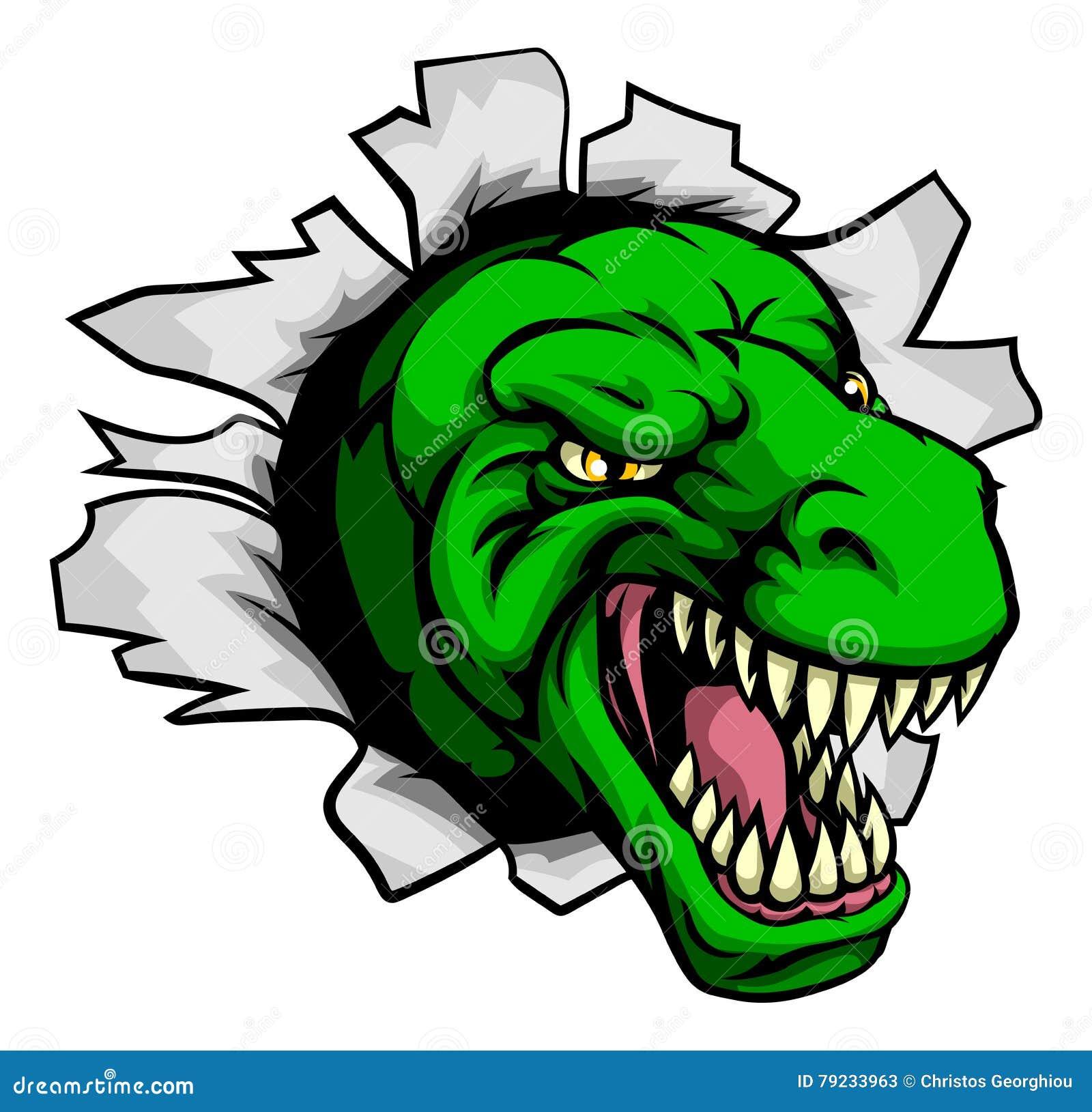 Download T Rex Dinosaur Ripping Through Background Stock Vector