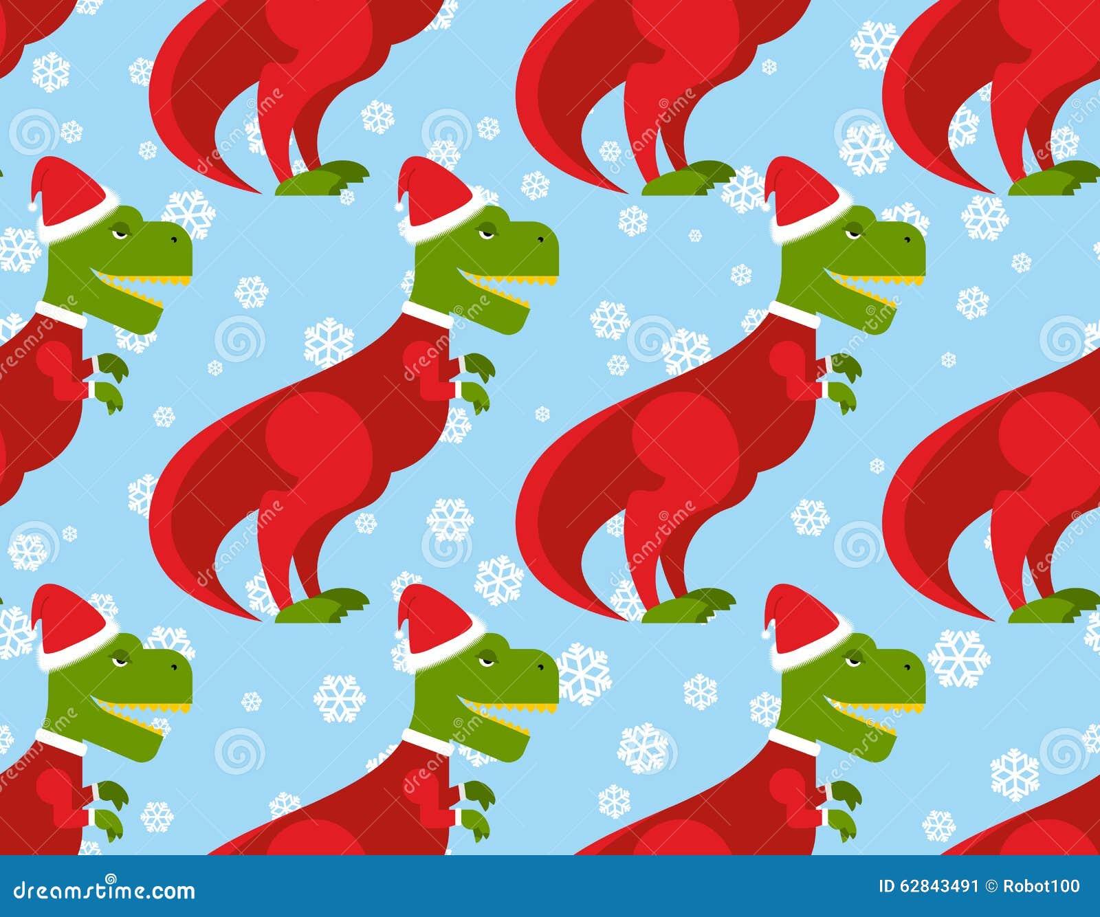 T Rex Santa Claus Seamless Pattern Christmas Dinosaur