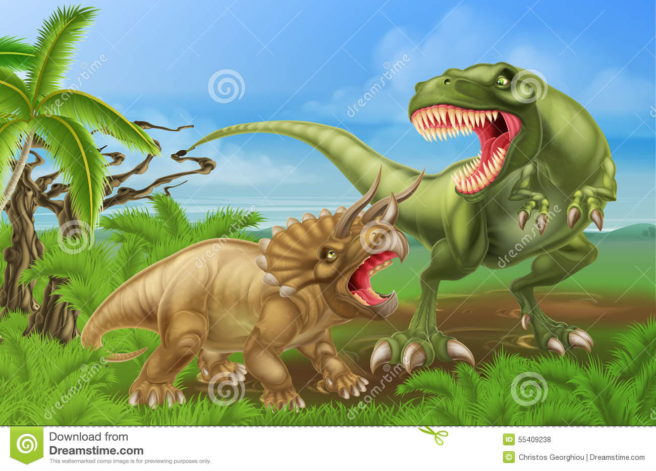 T Rex Triceratops Dinosaur Fight Scene Vector Illustratie ... T Rex Vs Triceratops Fighting